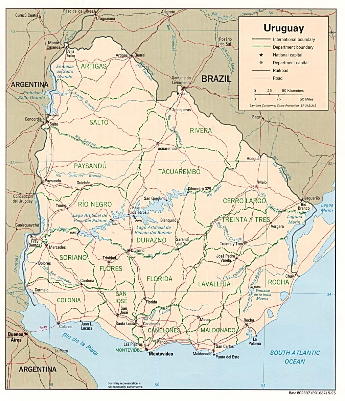 Toscana Politica Cartina Geografica.Uruguay