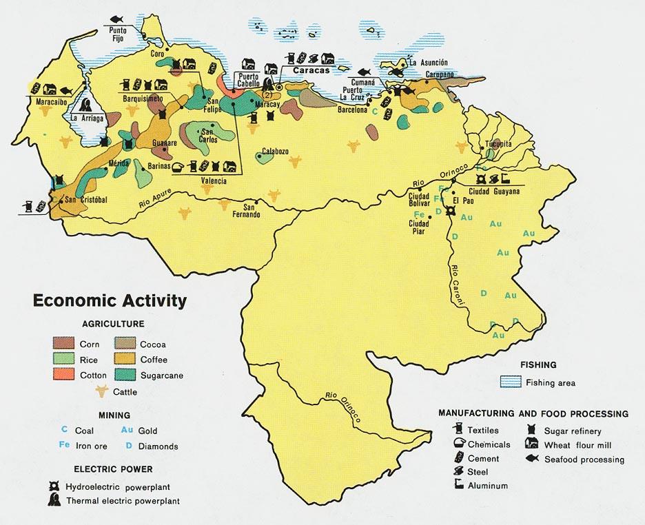 Venezuela Mapa económico.