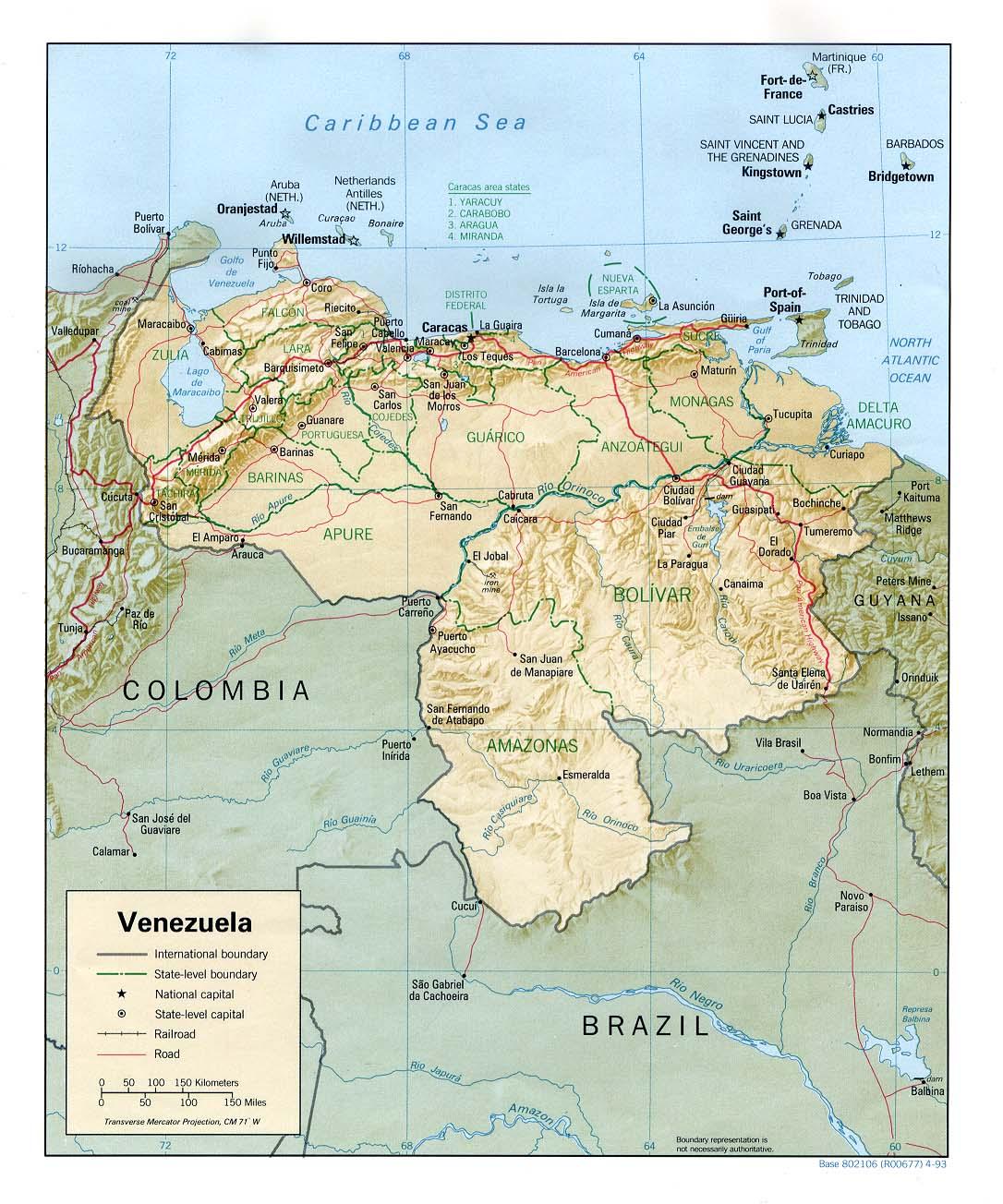 Venezuela Topographic Map.Venezuela Maps Perry Castaneda Map Collection Ut Library Online