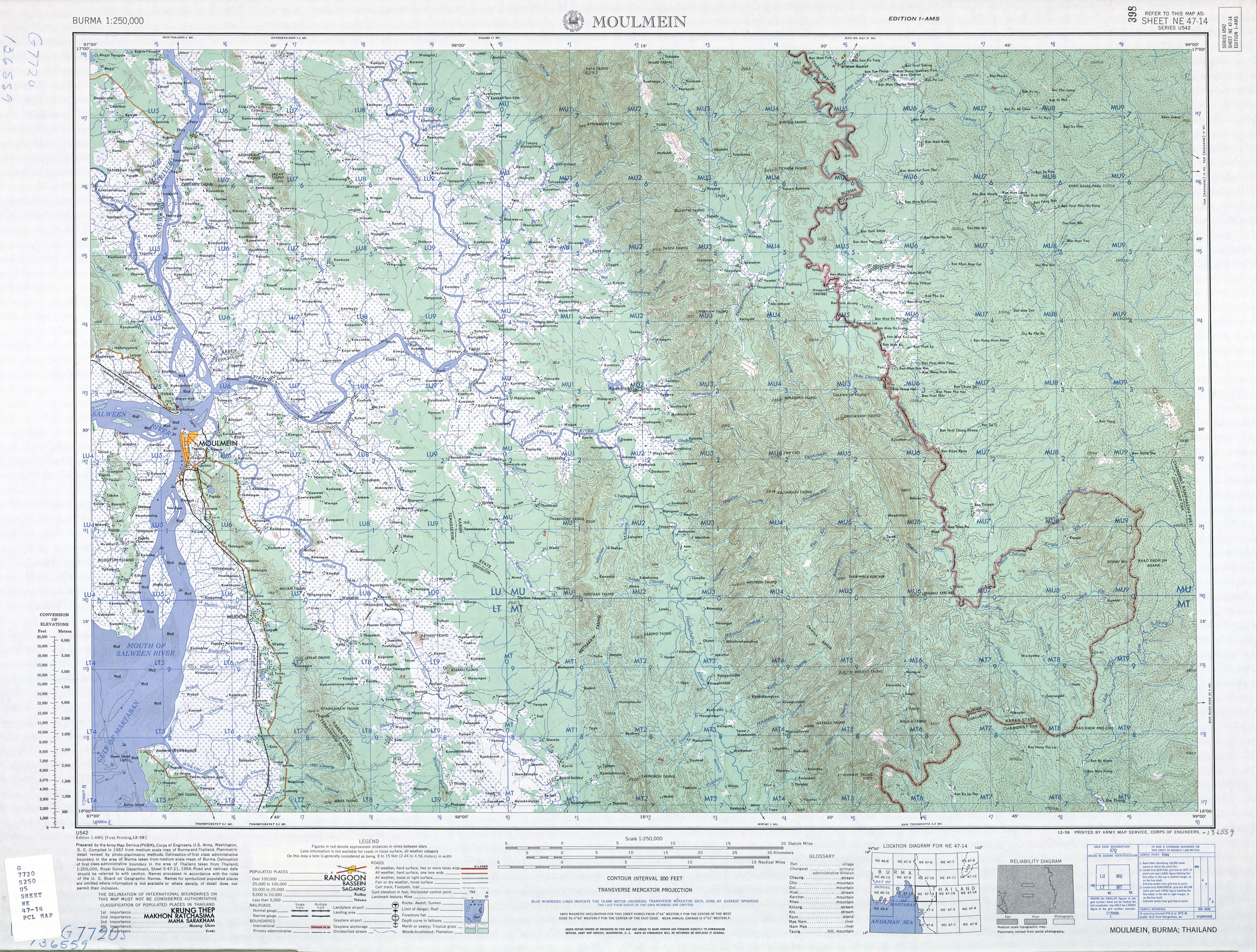 Burma AMS Topographic Maps PerryCastañeda Map Collection UT - Ne maps