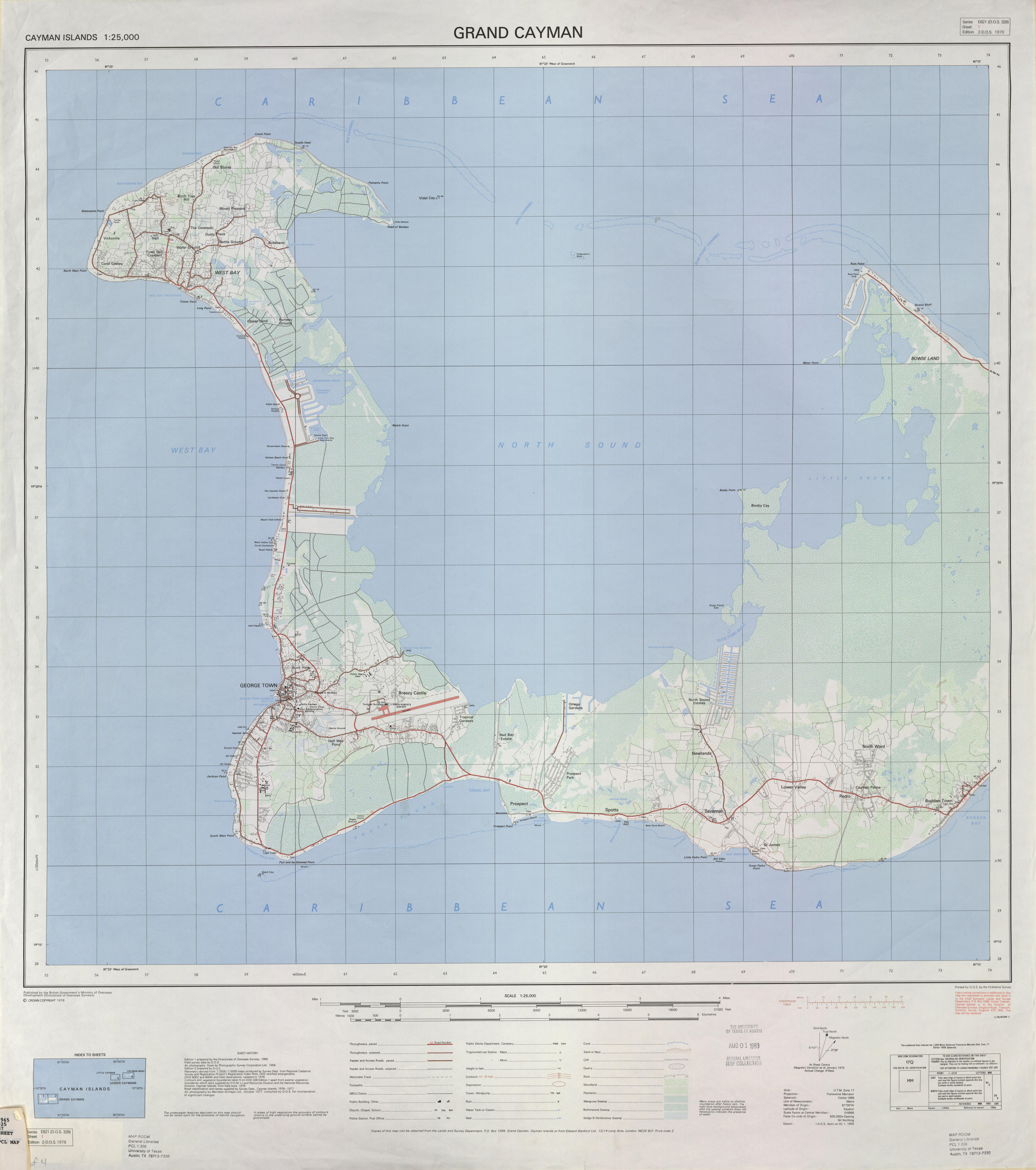 Cayman Islands AMS Topographic Maps PerryCastañeda Map - Cayman islands map