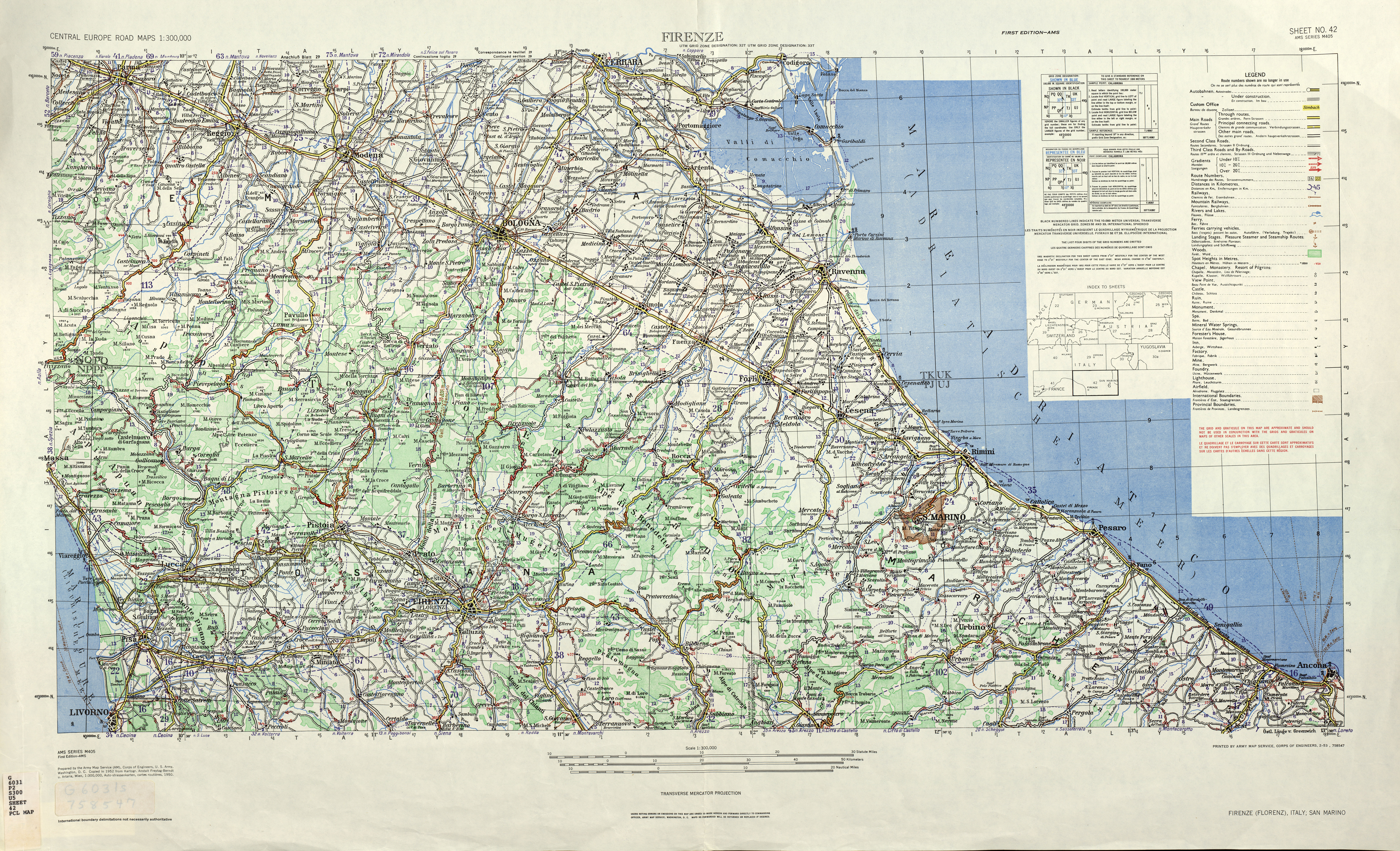 Central Europe Roads AMS Topographic Maps - Perry-Castañeda Map ...