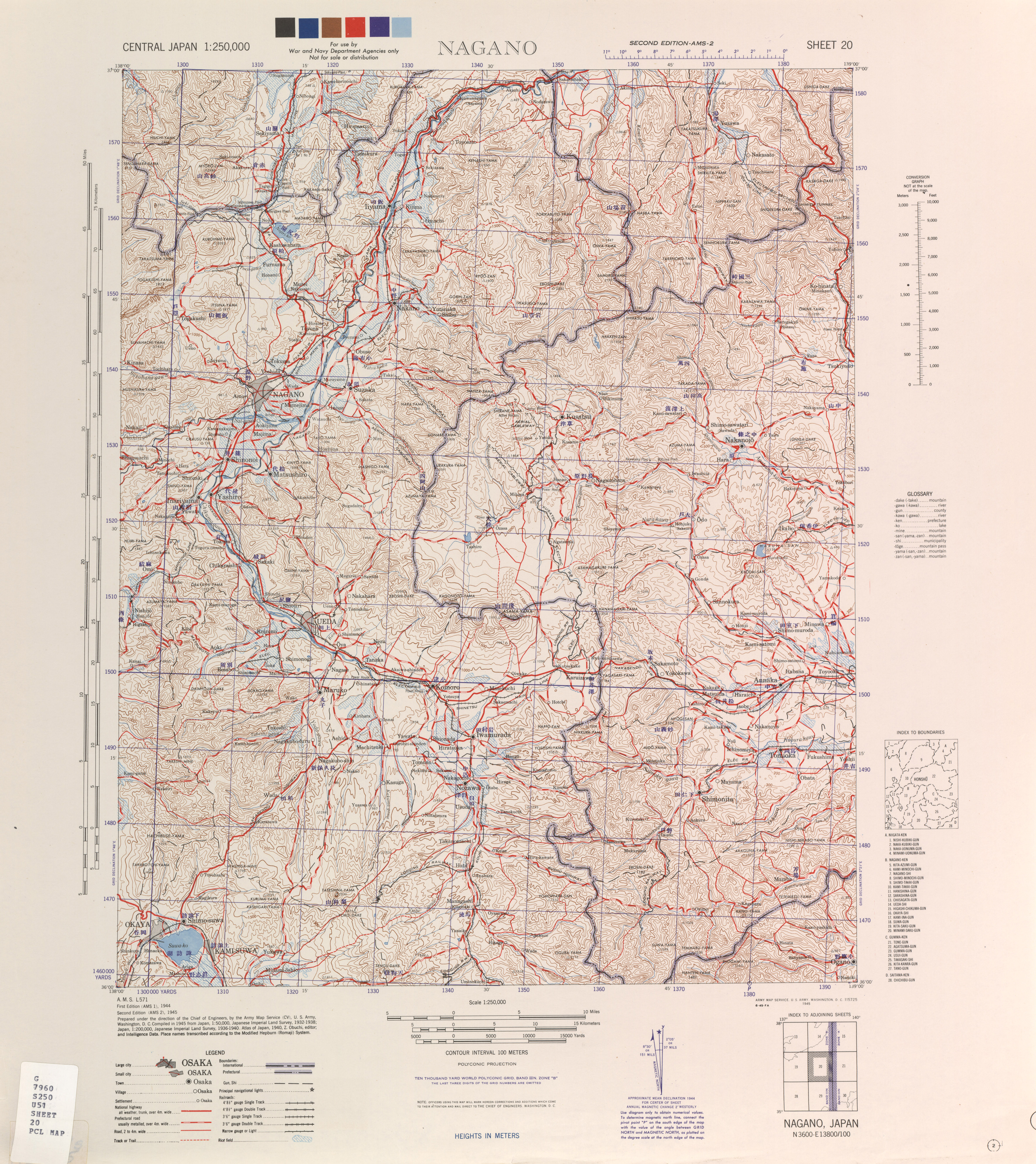 Central Japan AMS Topographic Maps PerryCastañeda Map - Japan map legend