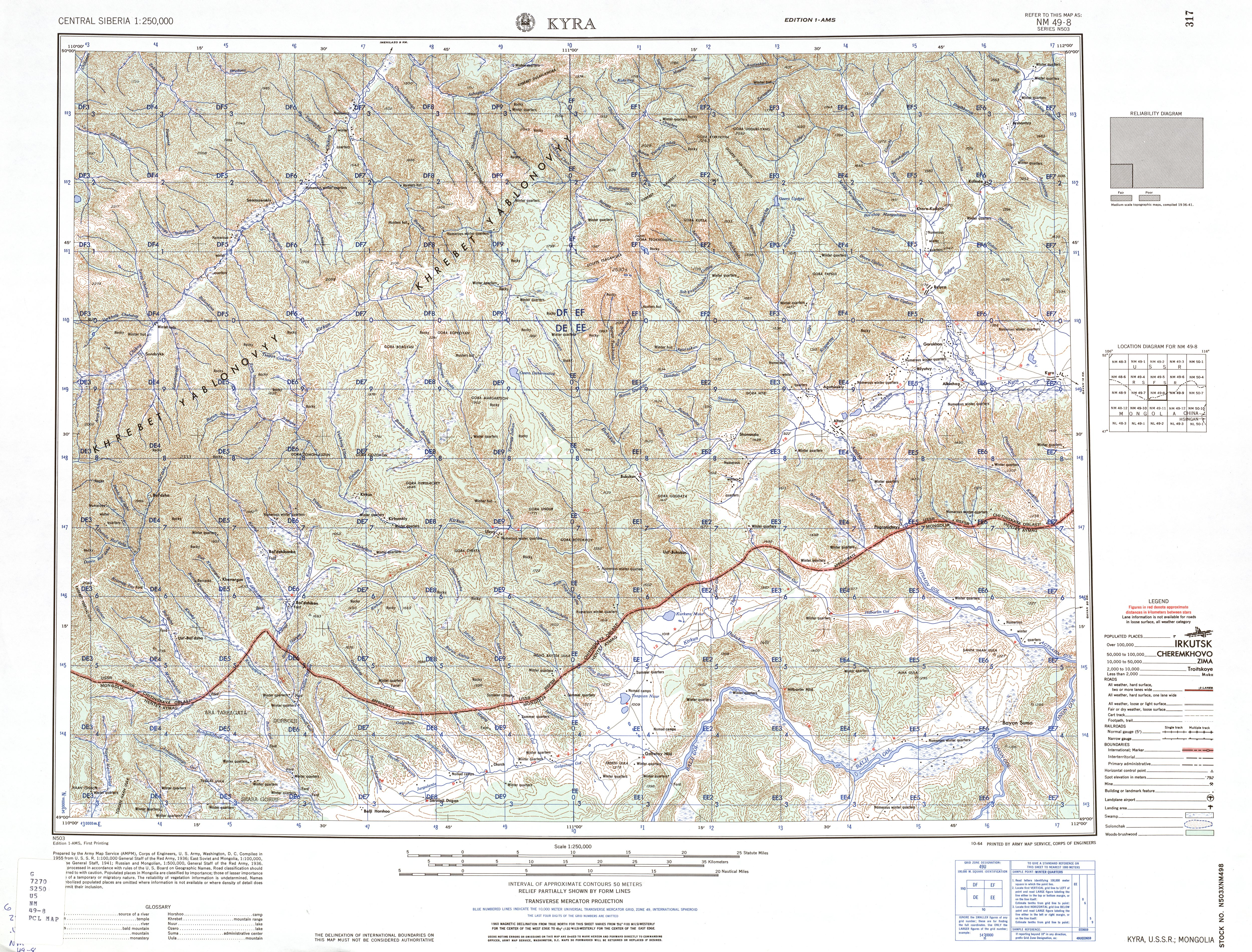 Central Siberia Ams Topographic Maps Perry Castaneda Map