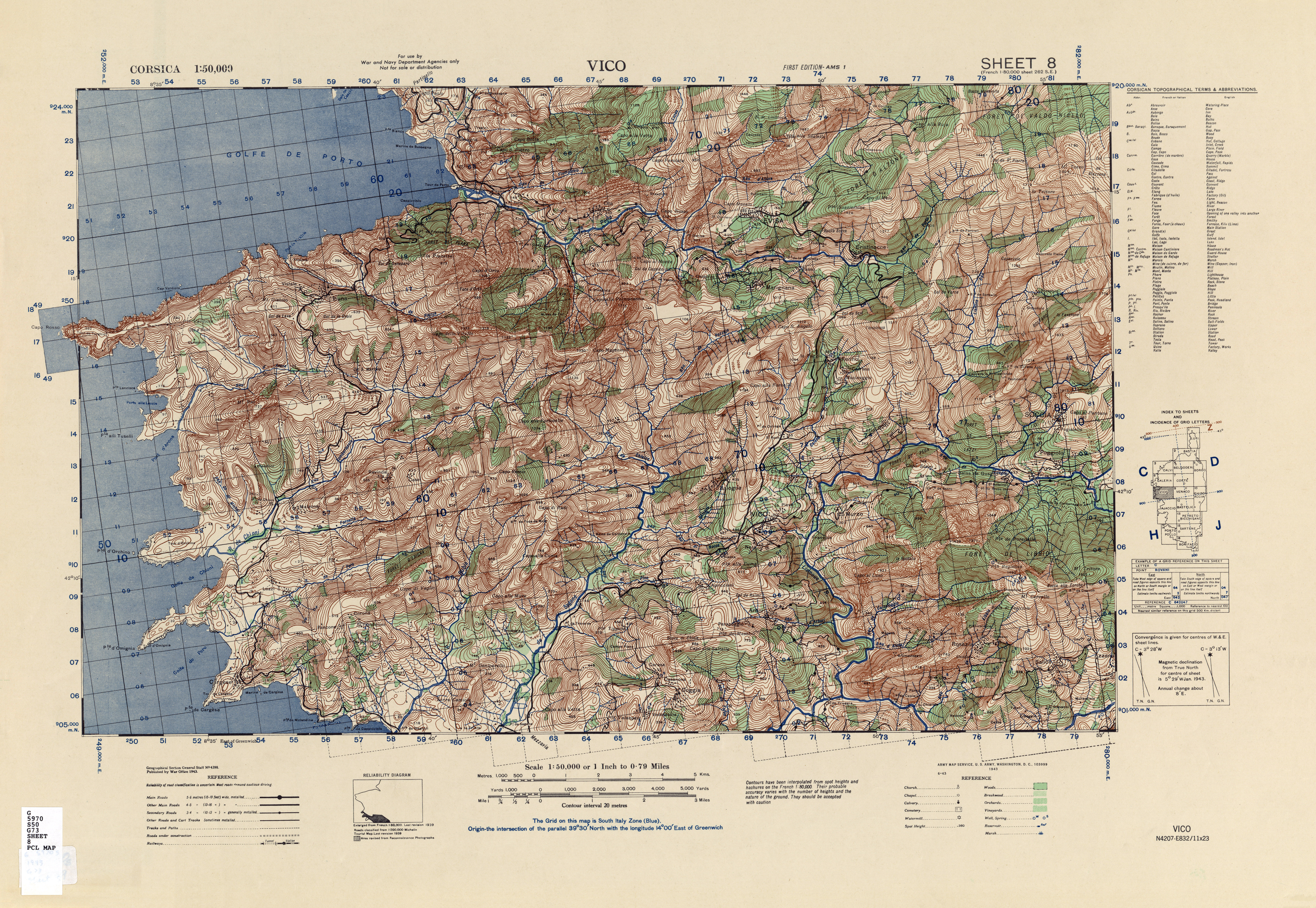 Corsica AMS Topographic Maps PerryCastaeda Map Collection UT