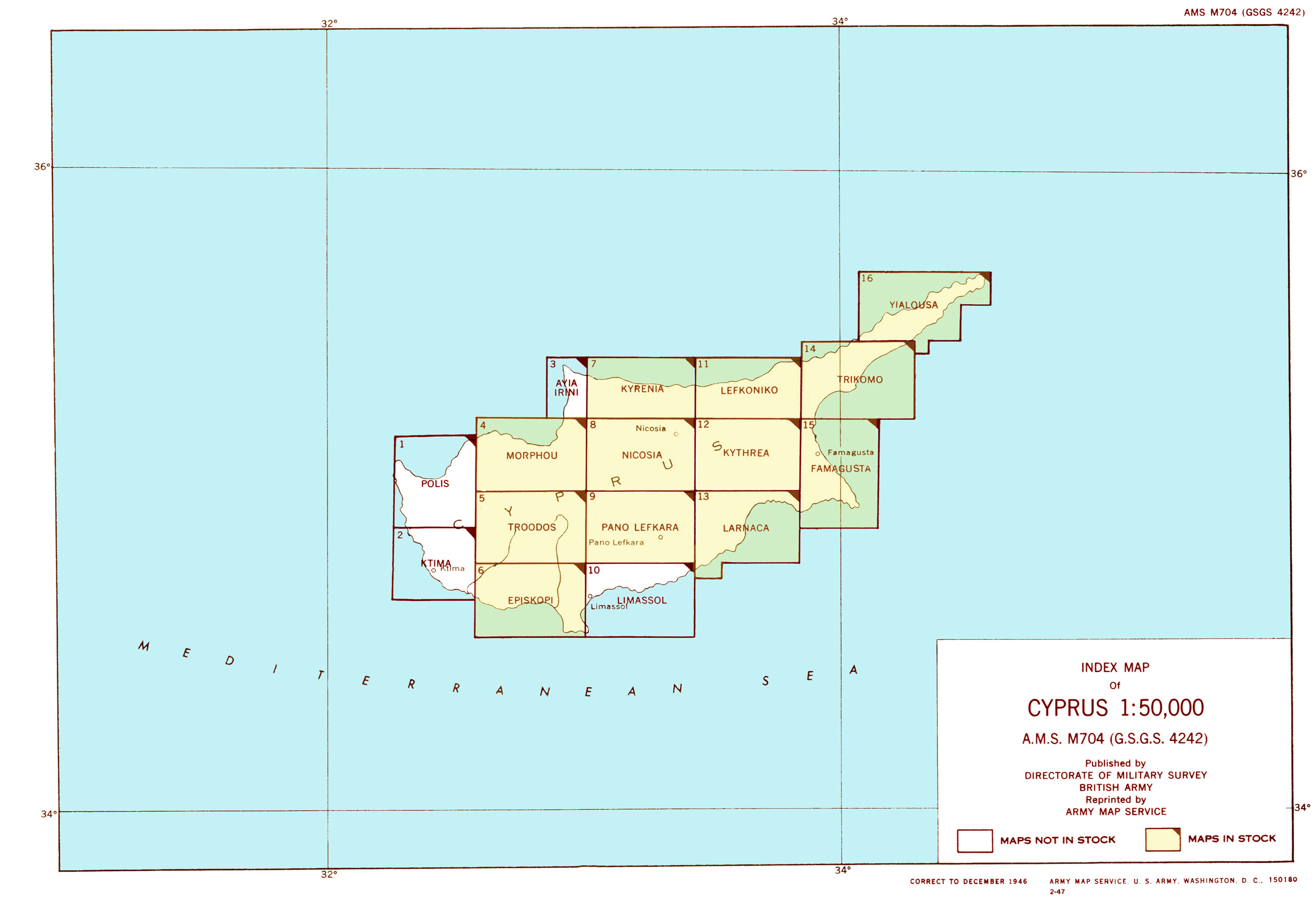 Cyprus AMS Topographic Maps PerryCasta eda Map Collection UT – Map Service