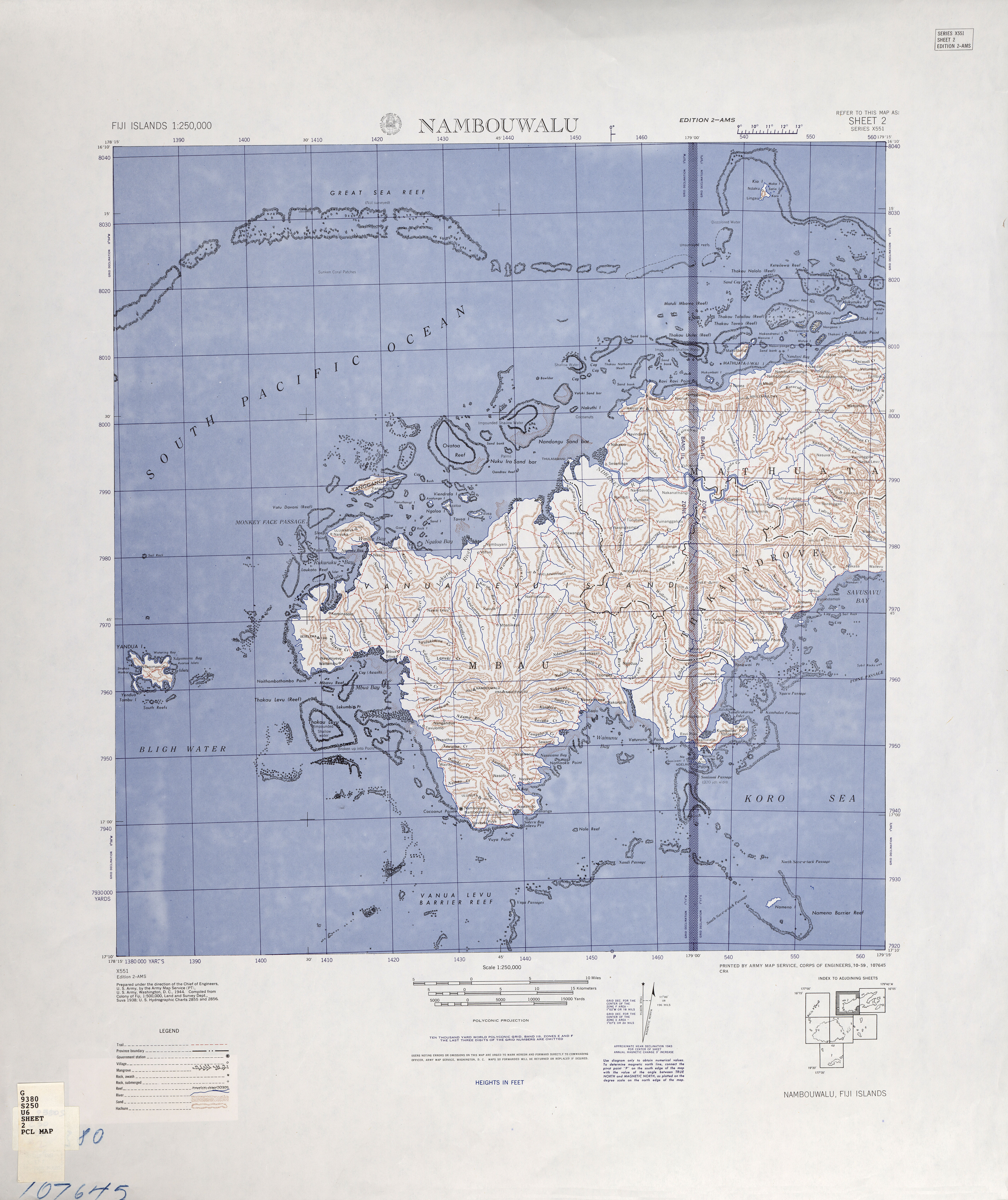 Fiji Islands AMS Topographic Maps - Perry-Castañeda Map Collection ...