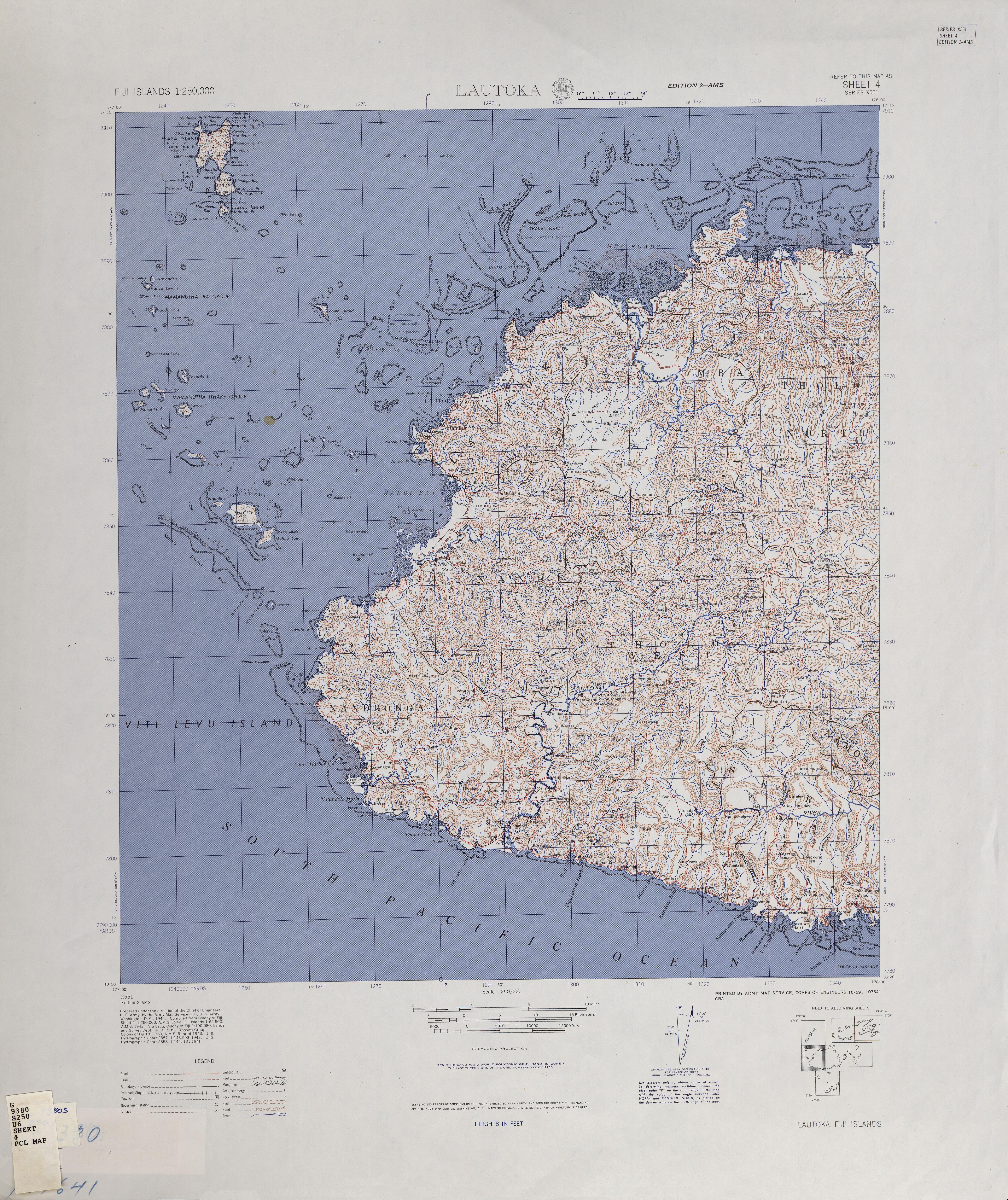 Fiji Islands AMS Topographic Maps PerryCastañeda Map Collection - World map figi