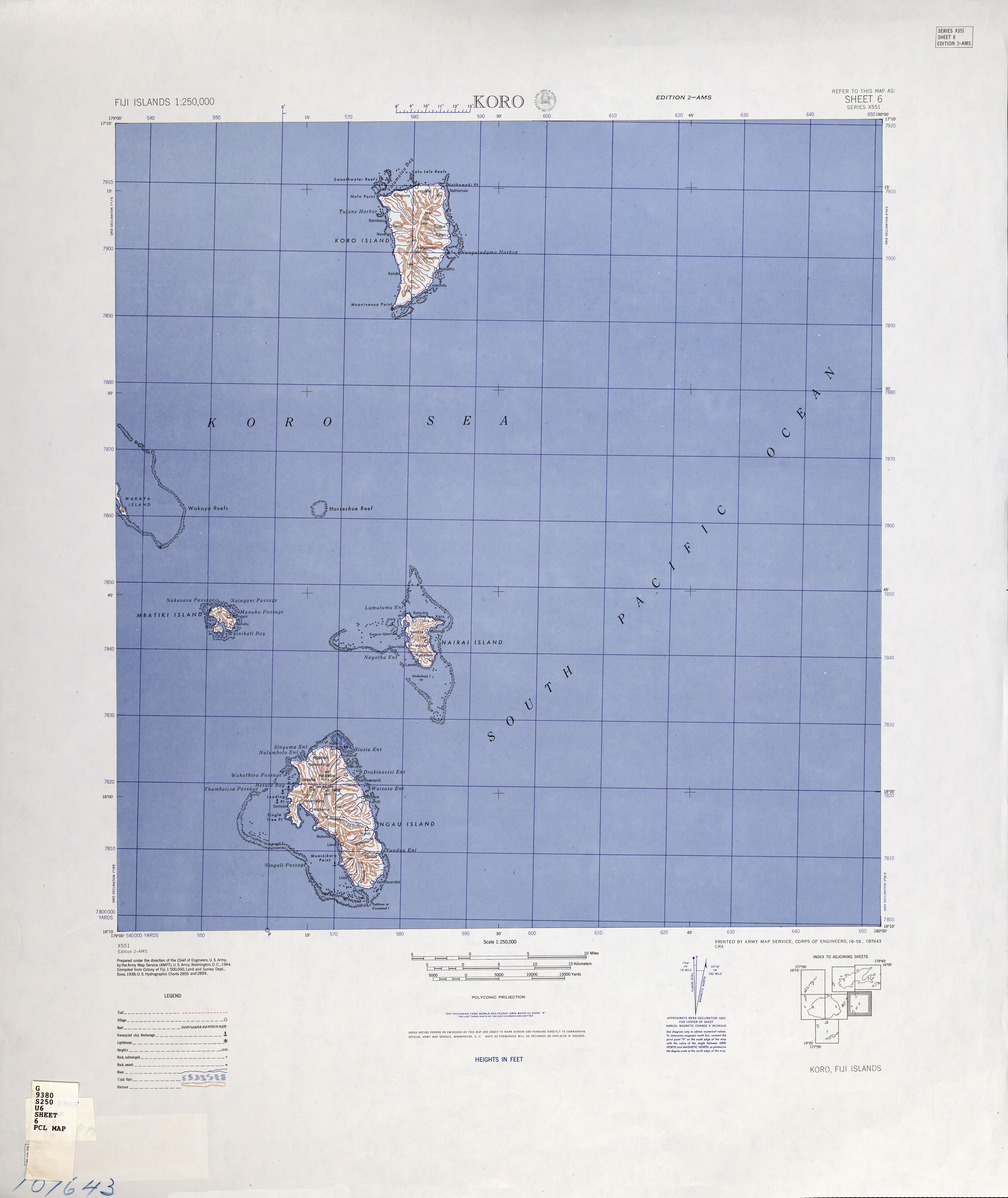 Fiji Islands AMS Topographic Maps PerryCastañeda Map Collection - Fiji islands map