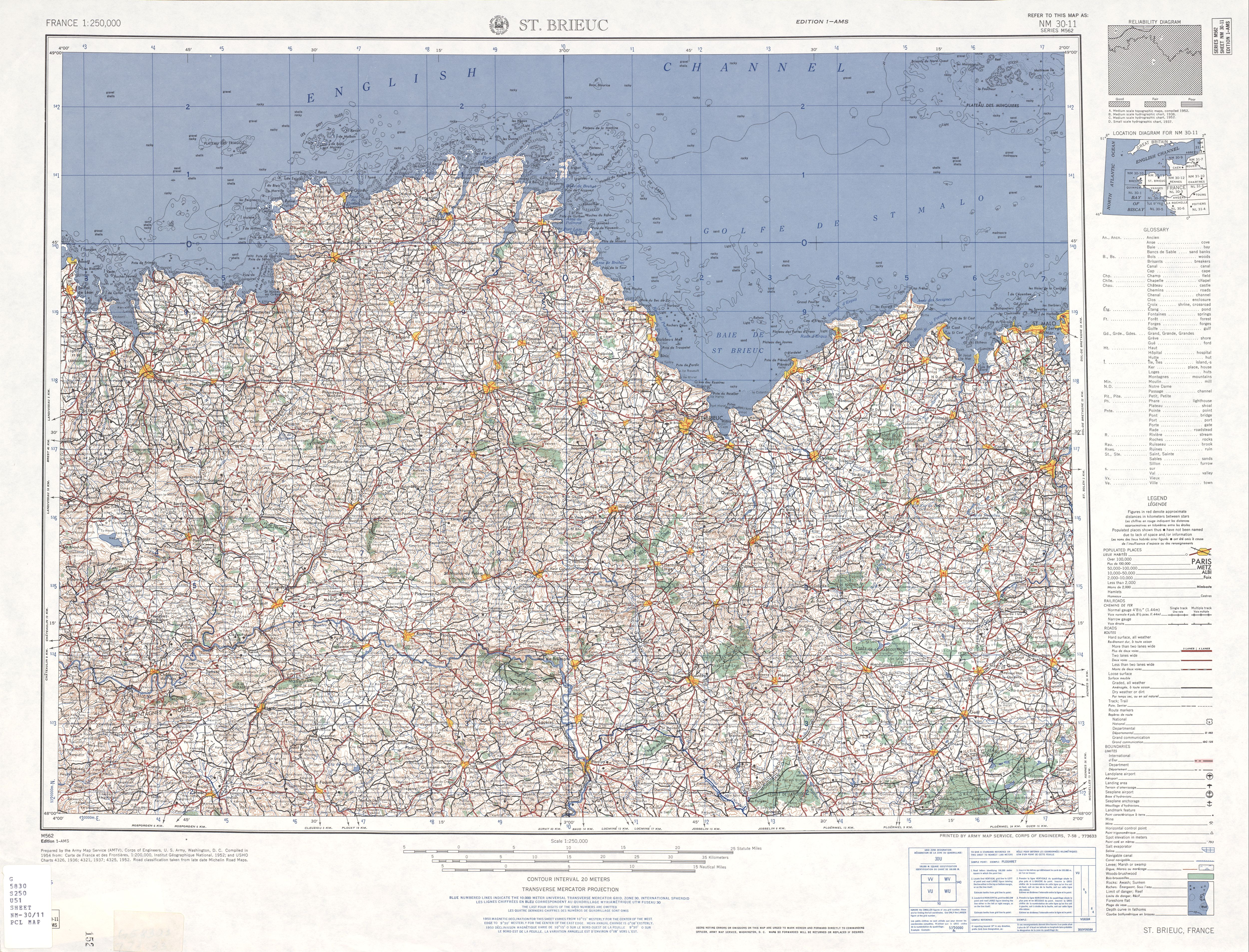 Map Of West France.France Ams Topographic Maps Perry Castaneda Map Collection Ut
