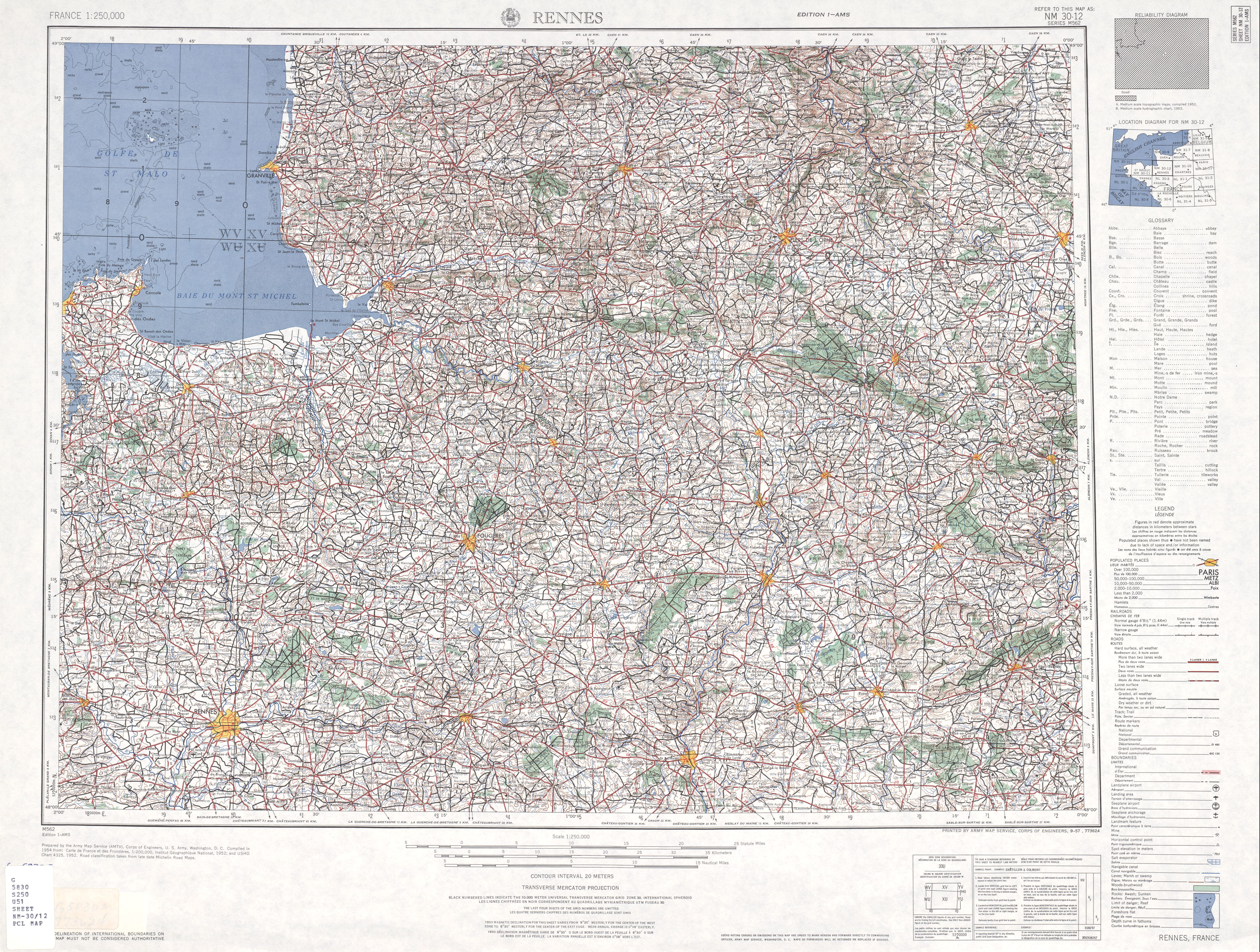 Map Of France Rennes.France Ams Topographic Maps Perry Castaneda Map Collection Ut