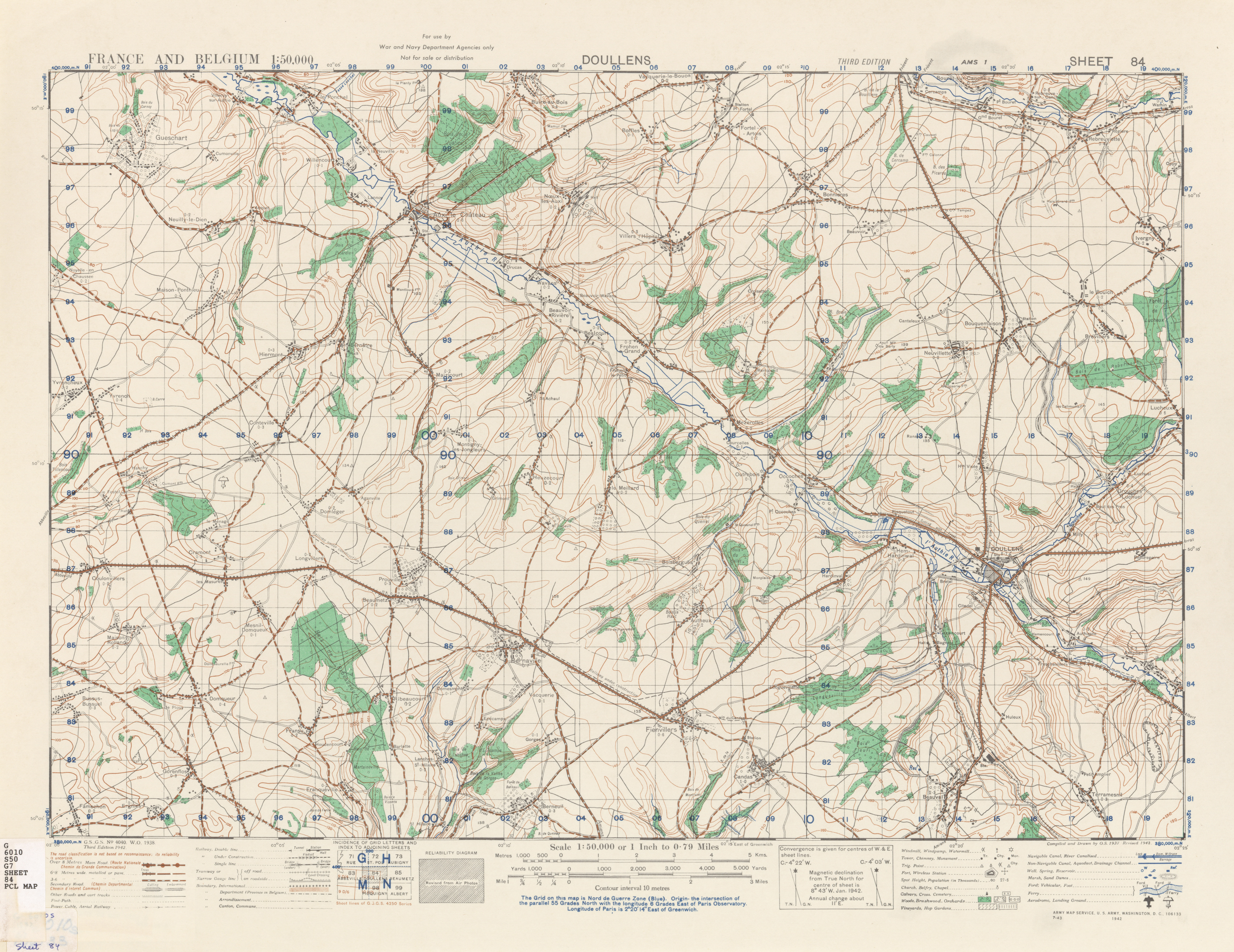 France and Belgium AMS Topographic Maps PerryCastaeda Map