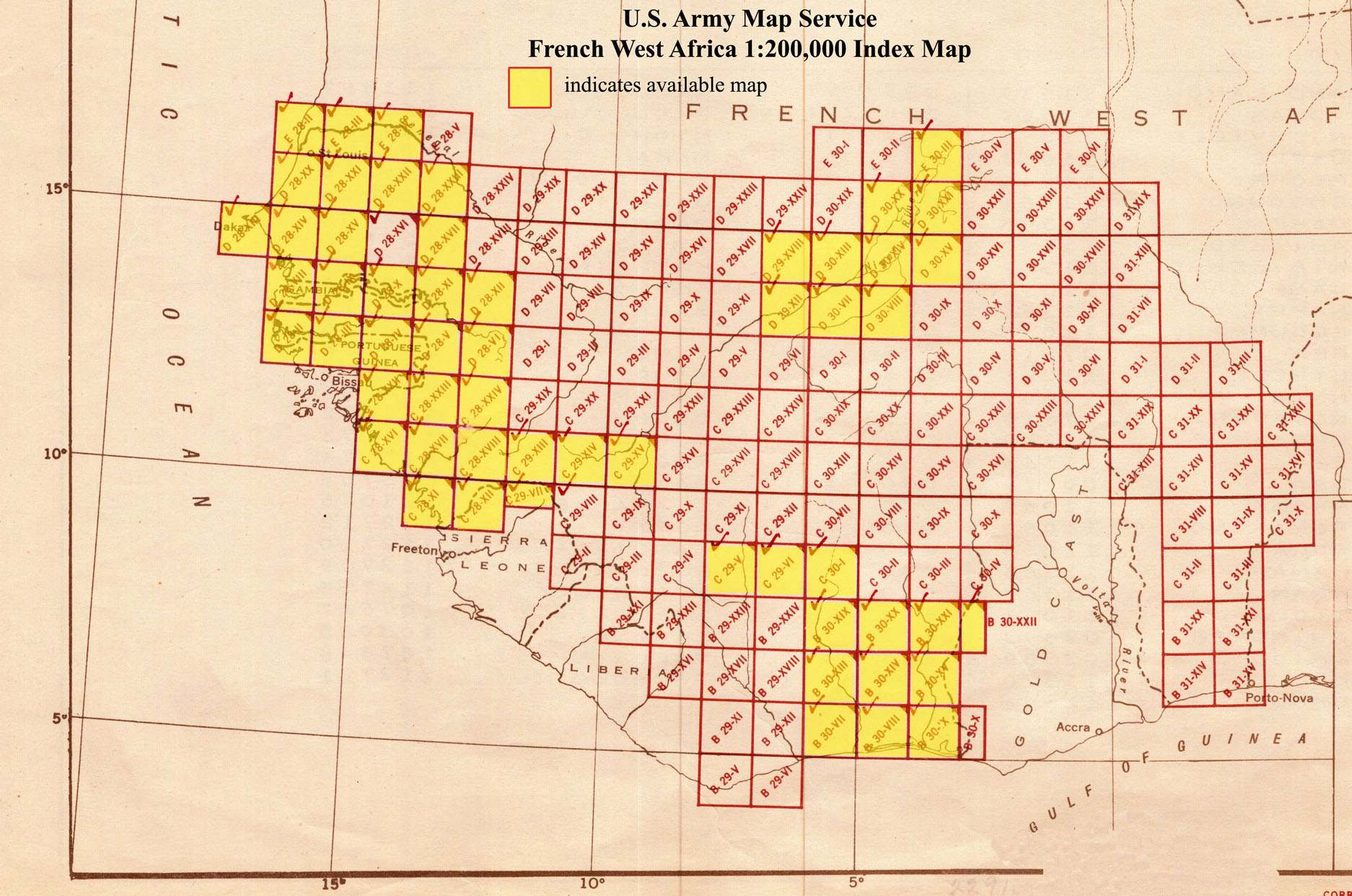 French Africa Map.French West Africa Ams Topographic Maps Perry Castaneda Map