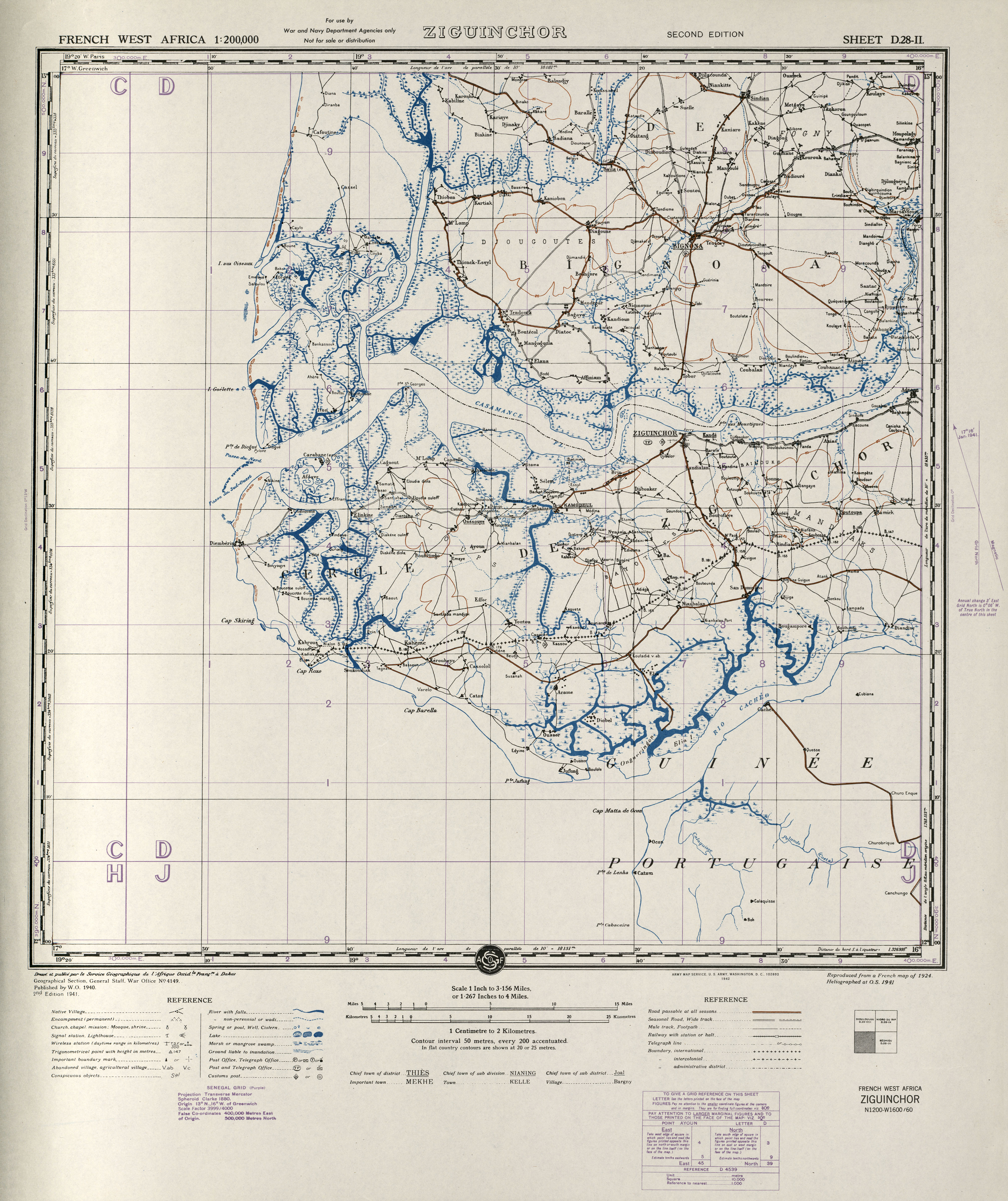 French West Africa AMS Topographic Maps PerryCastaeda Map
