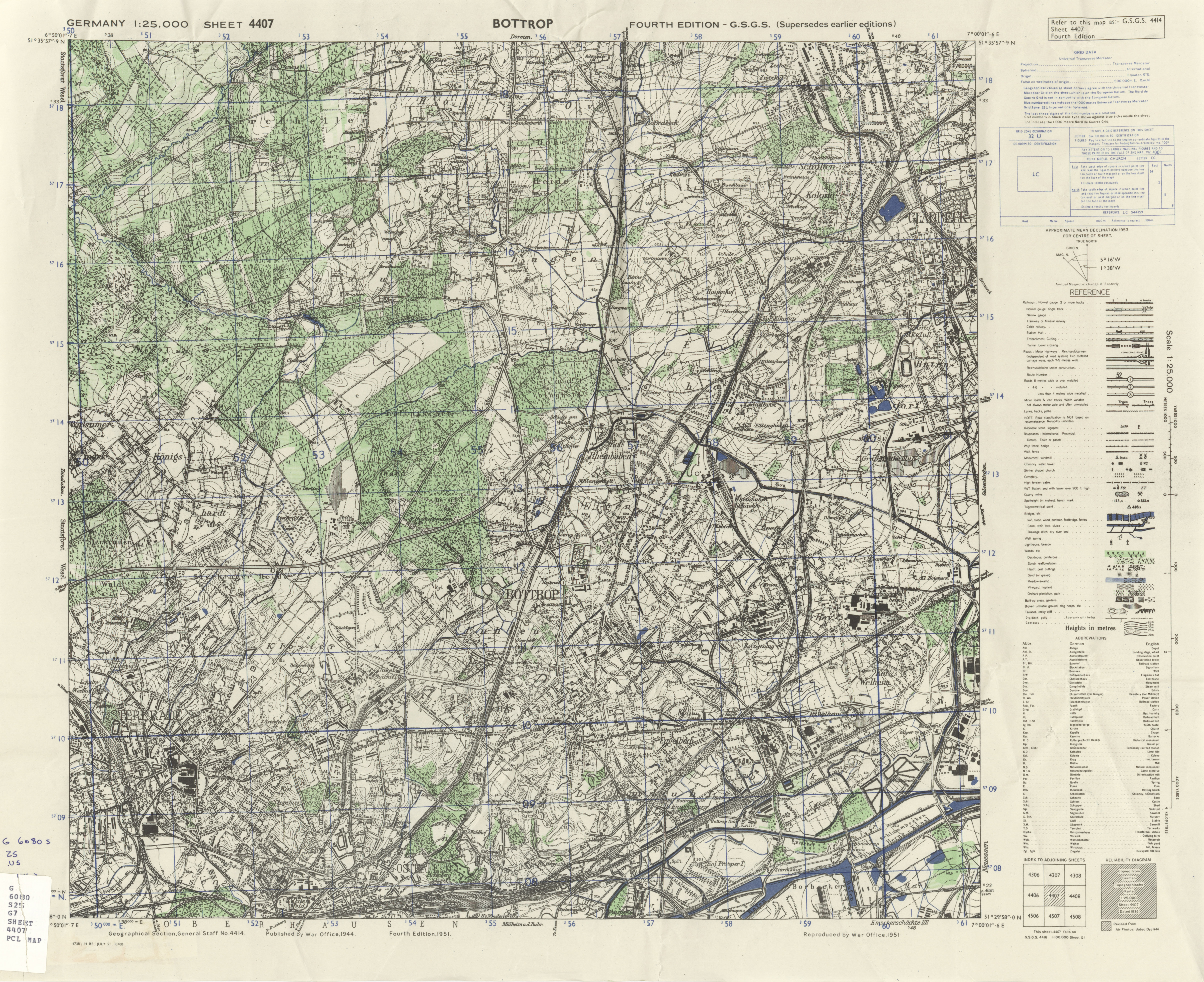 Germany AMS Topographic Maps PerryCastañeda Map Collection UT - Bottrop map
