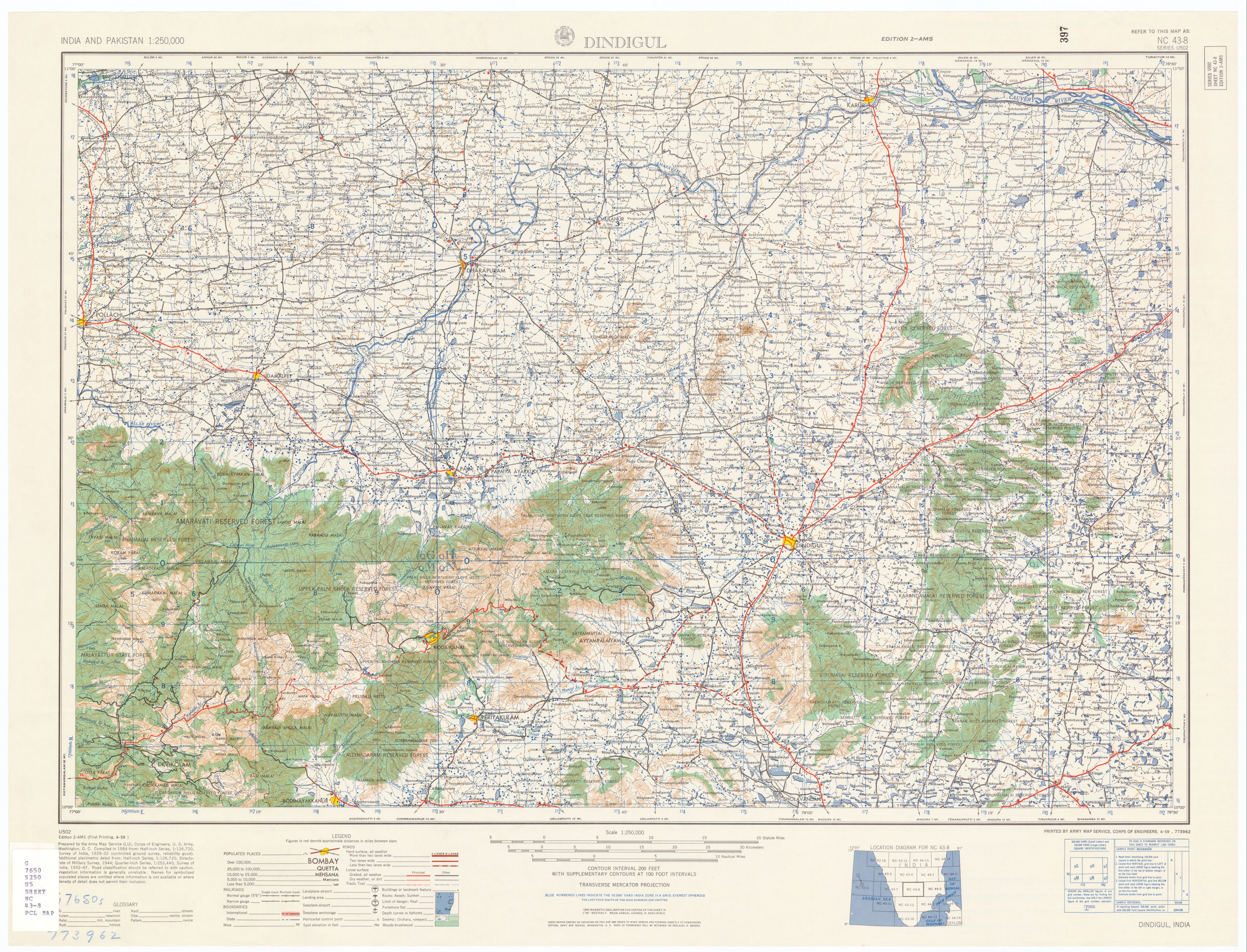 India and Pakistan AMS Topographic Maps PerryCastaeda Map