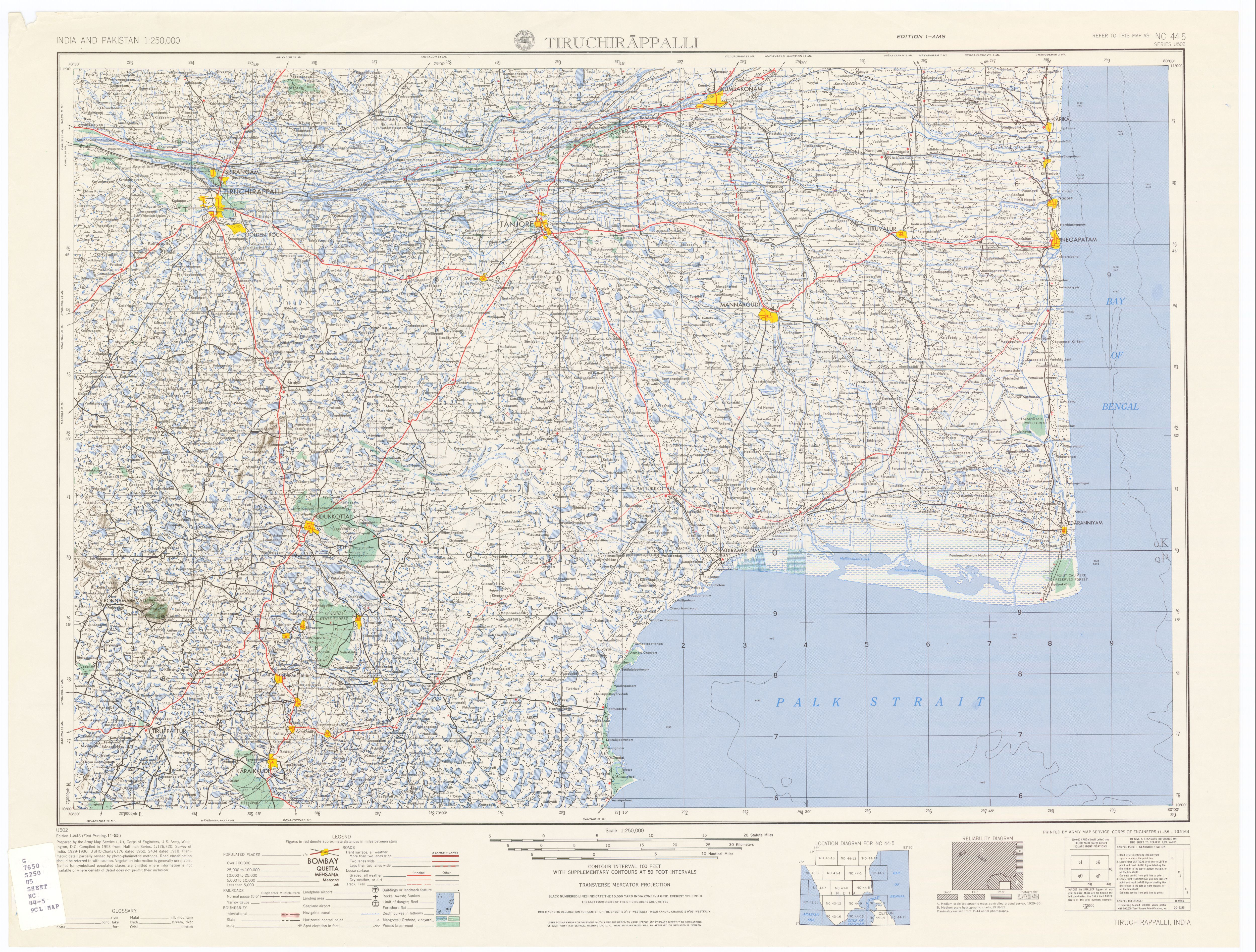 India and pakistan ams topographic maps perry castaeda map nc 44 5 tiruchirappalli gumiabroncs Gallery