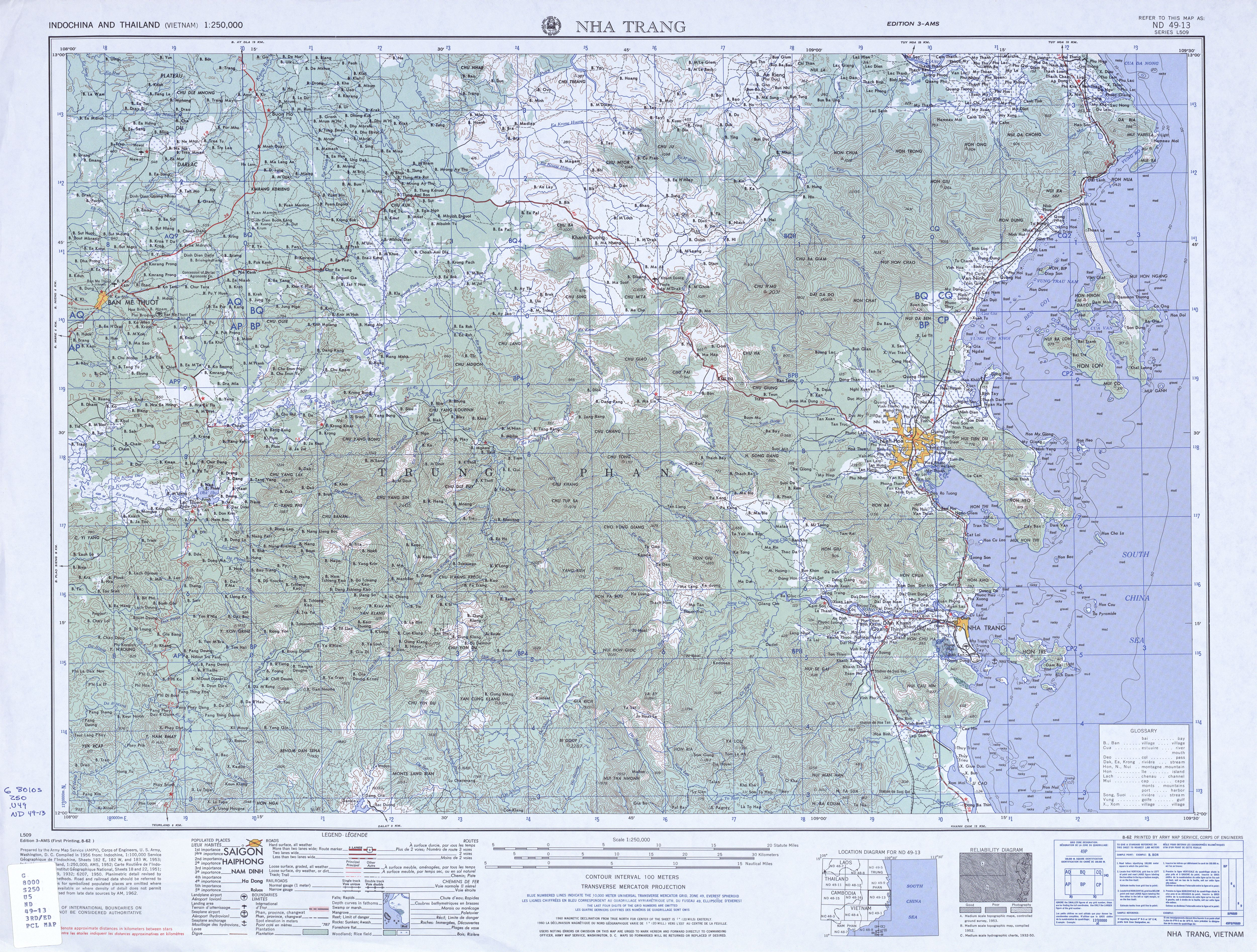 Indochina and Thailand AMS Topographic Maps PerryCastaeda Map