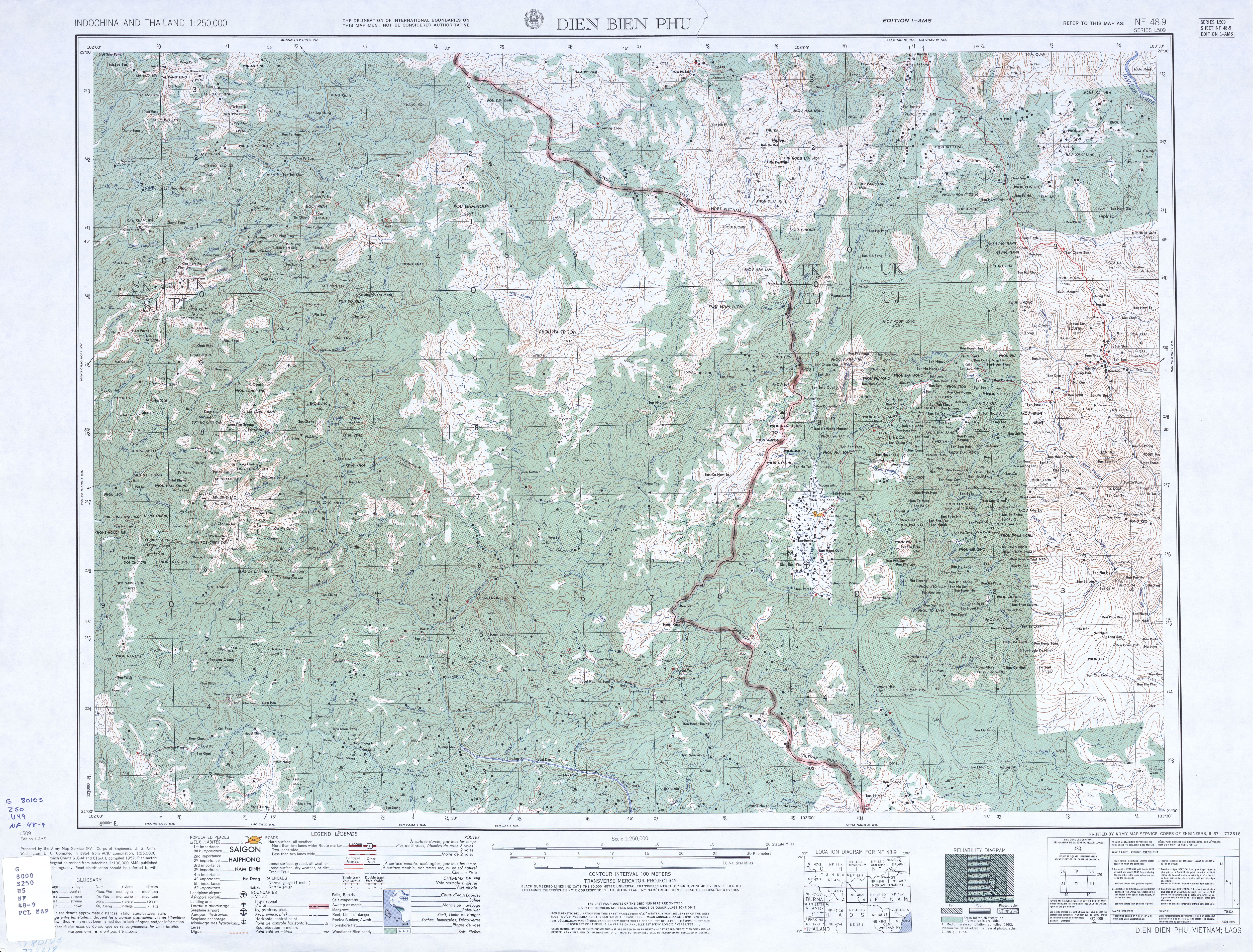 Dien Bien Phu Vietnam Map.Indochina And Thailand Ams Topographic Maps Perry Castaneda Map