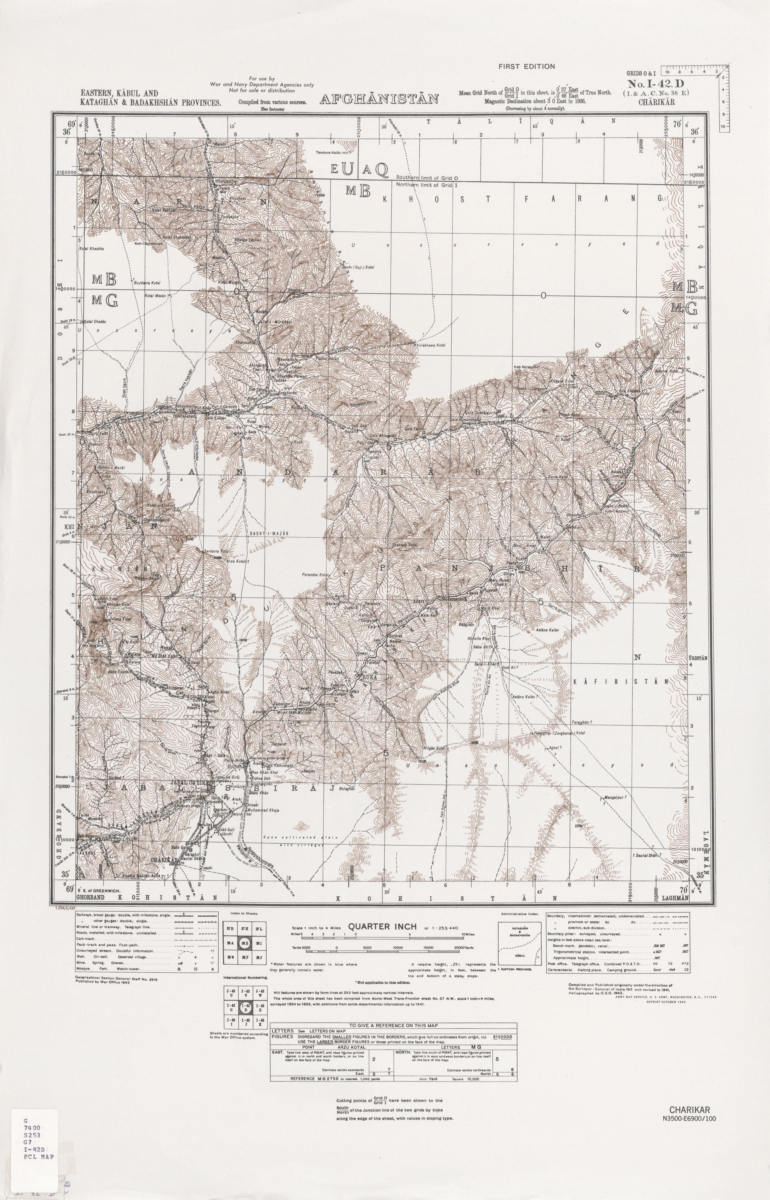 Iraq Iran AMS Topographic Maps PerryCastañeda Map Collection - Charikar map