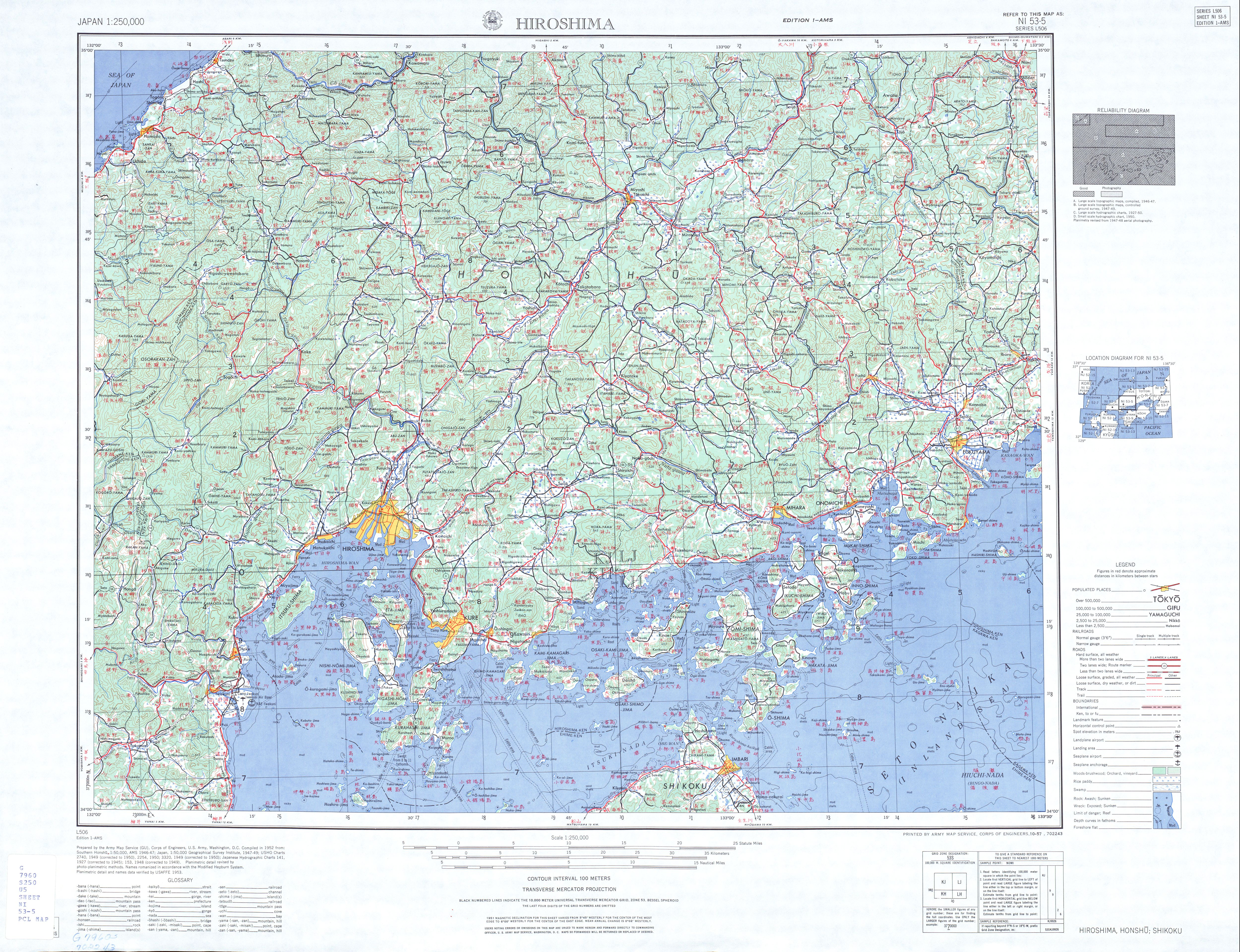 Japan AMS Topographic Maps PerryCastaeda Map Collection UT