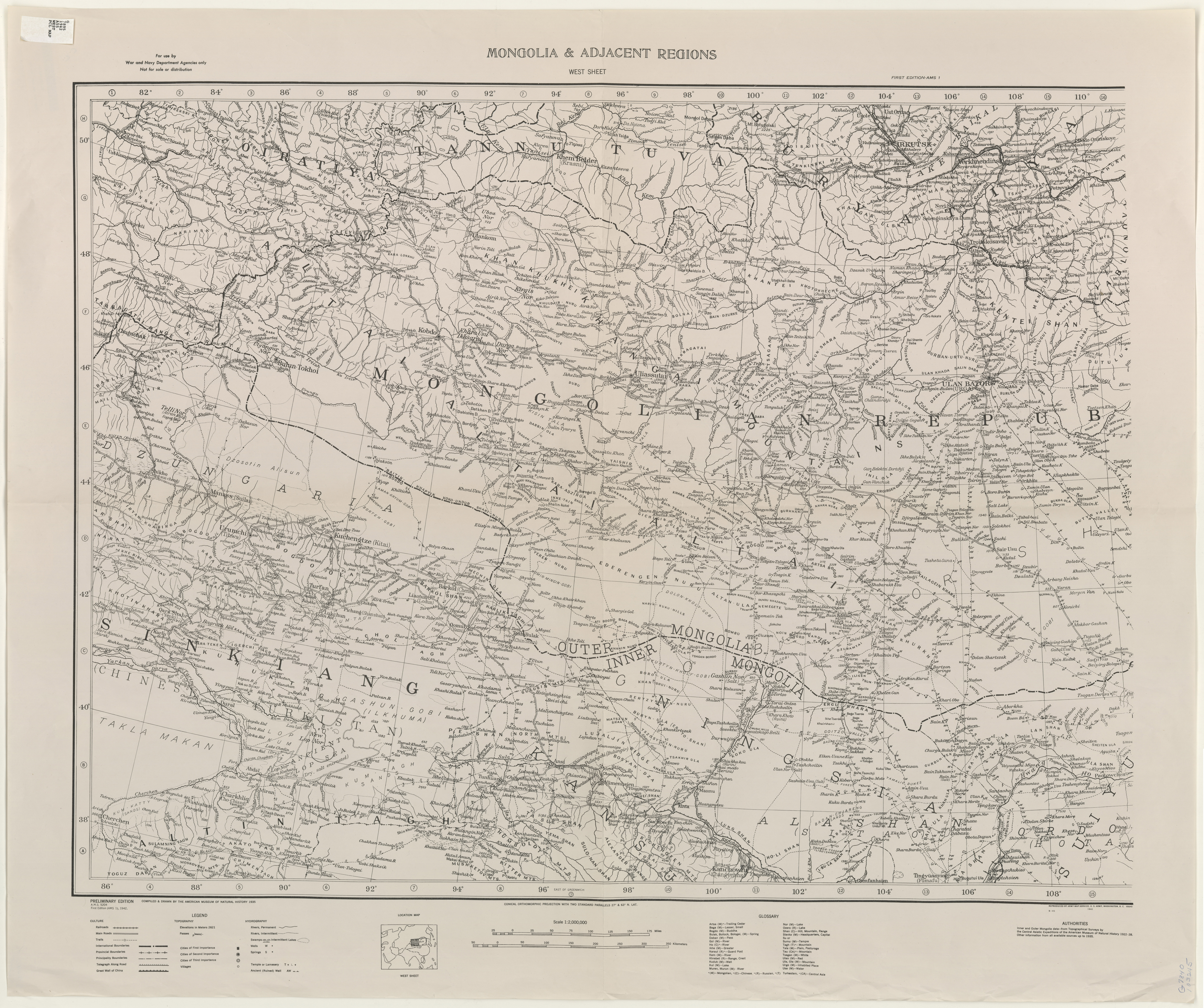 Mongolia Topographic Maps PerryCastañeda Map Collection UT - Us government map of mongolia 1 500000