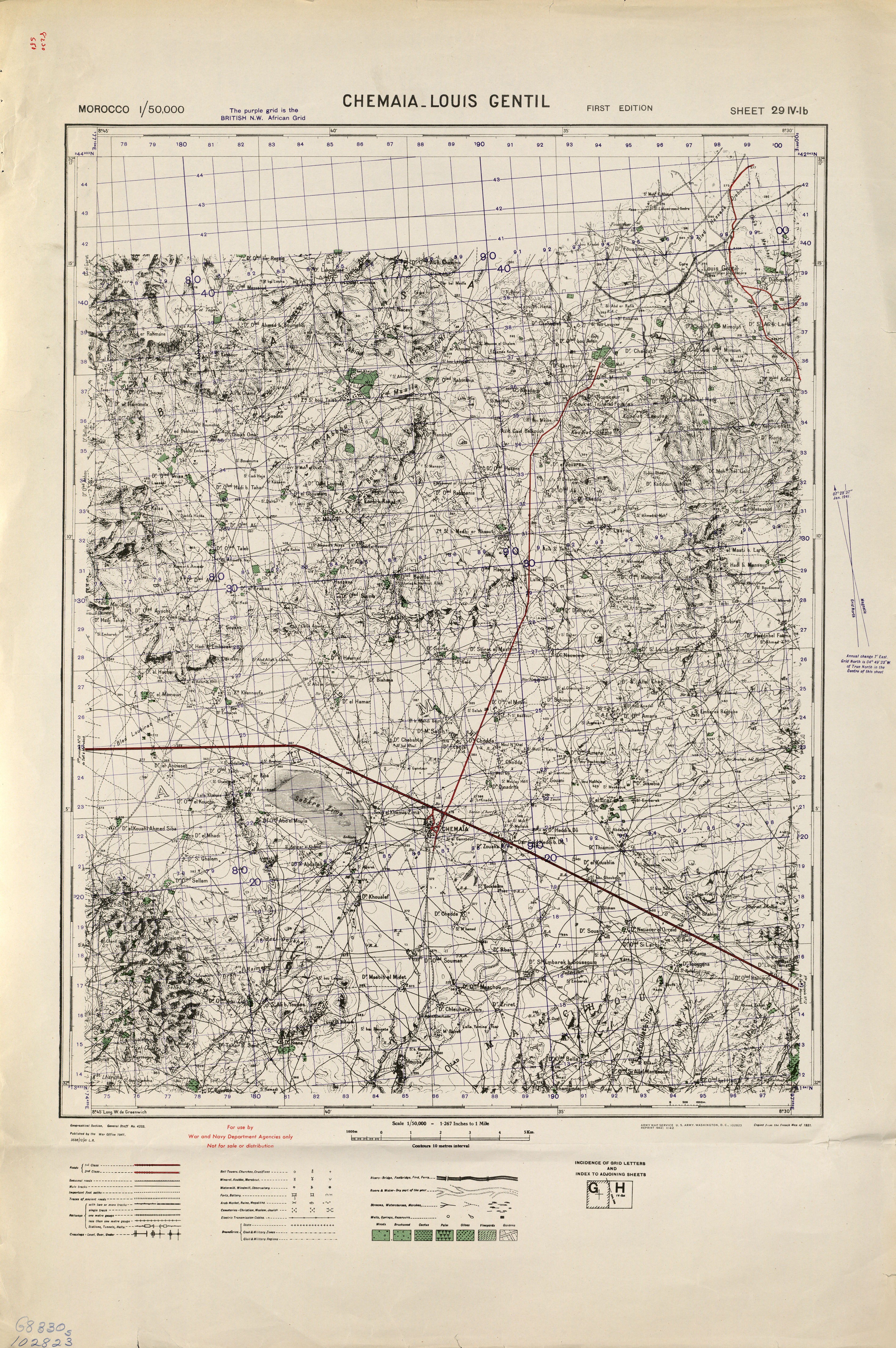 Chemaia Louis Gentil Morocco 50000 (50k) Topographic map free download