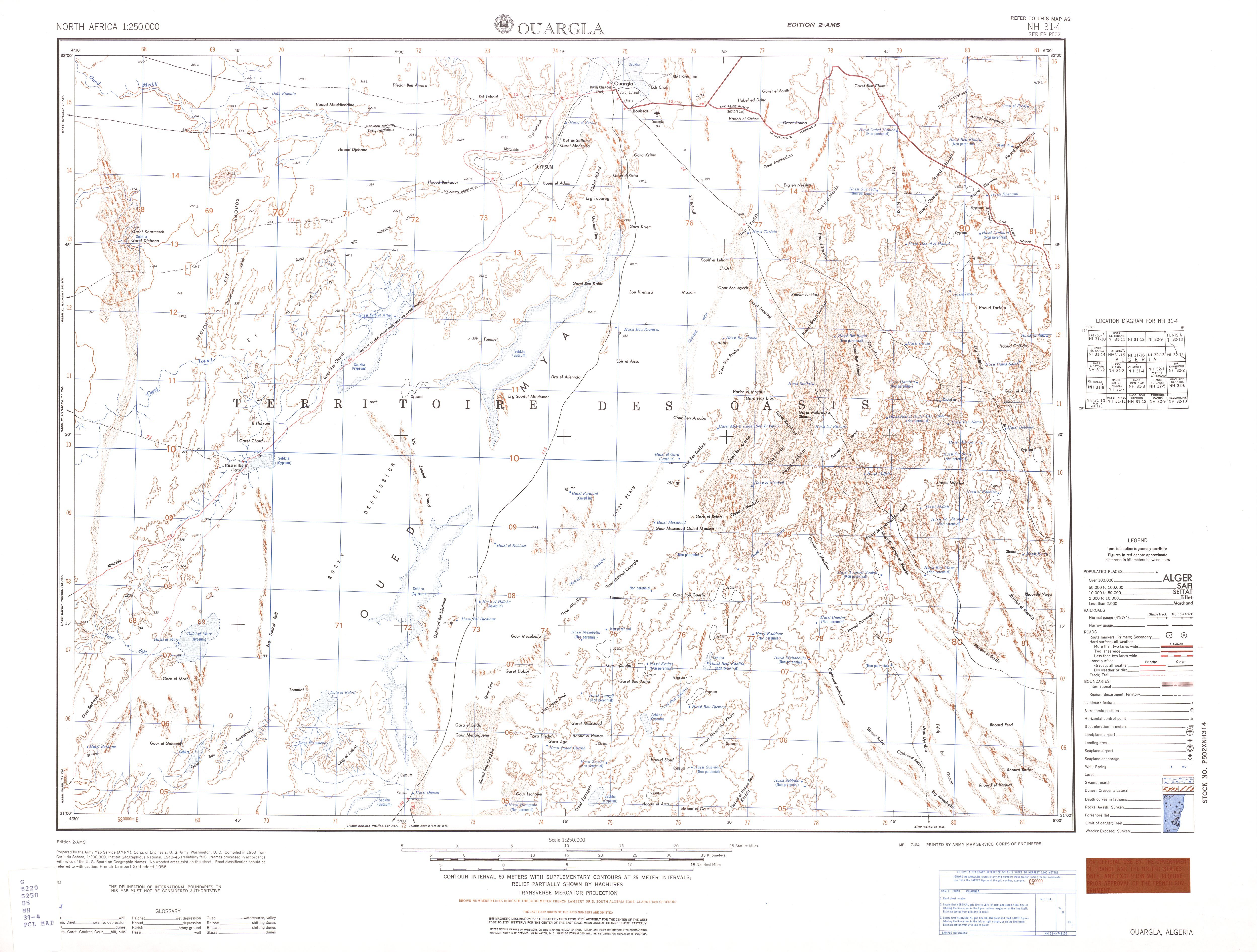 North Africa AMS Topographic Maps PerryCastañeda Map Collection - Ouargla map