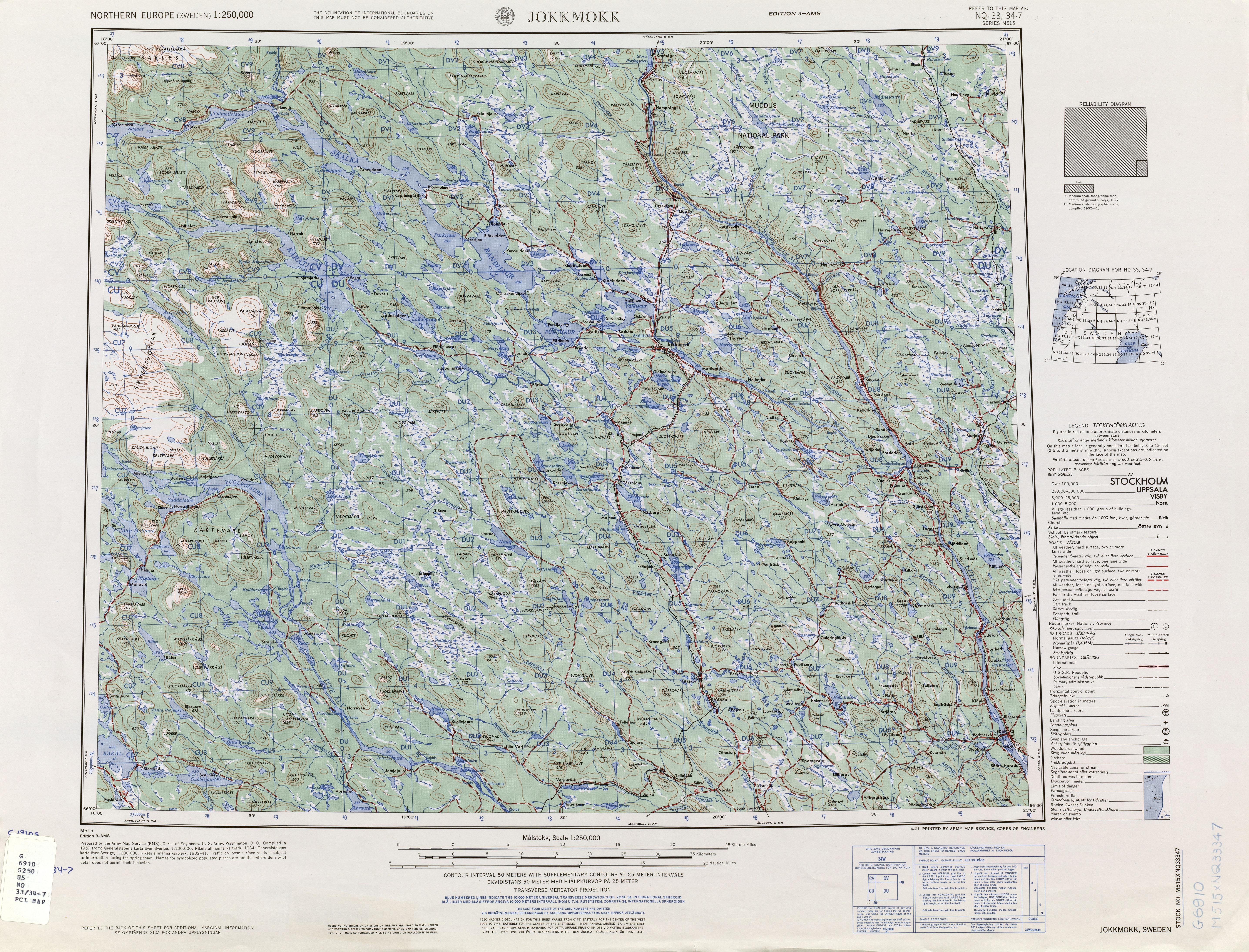 Northern Europe AMS Topographic Maps PerryCastañeda Map - Jokkmokk sweden map