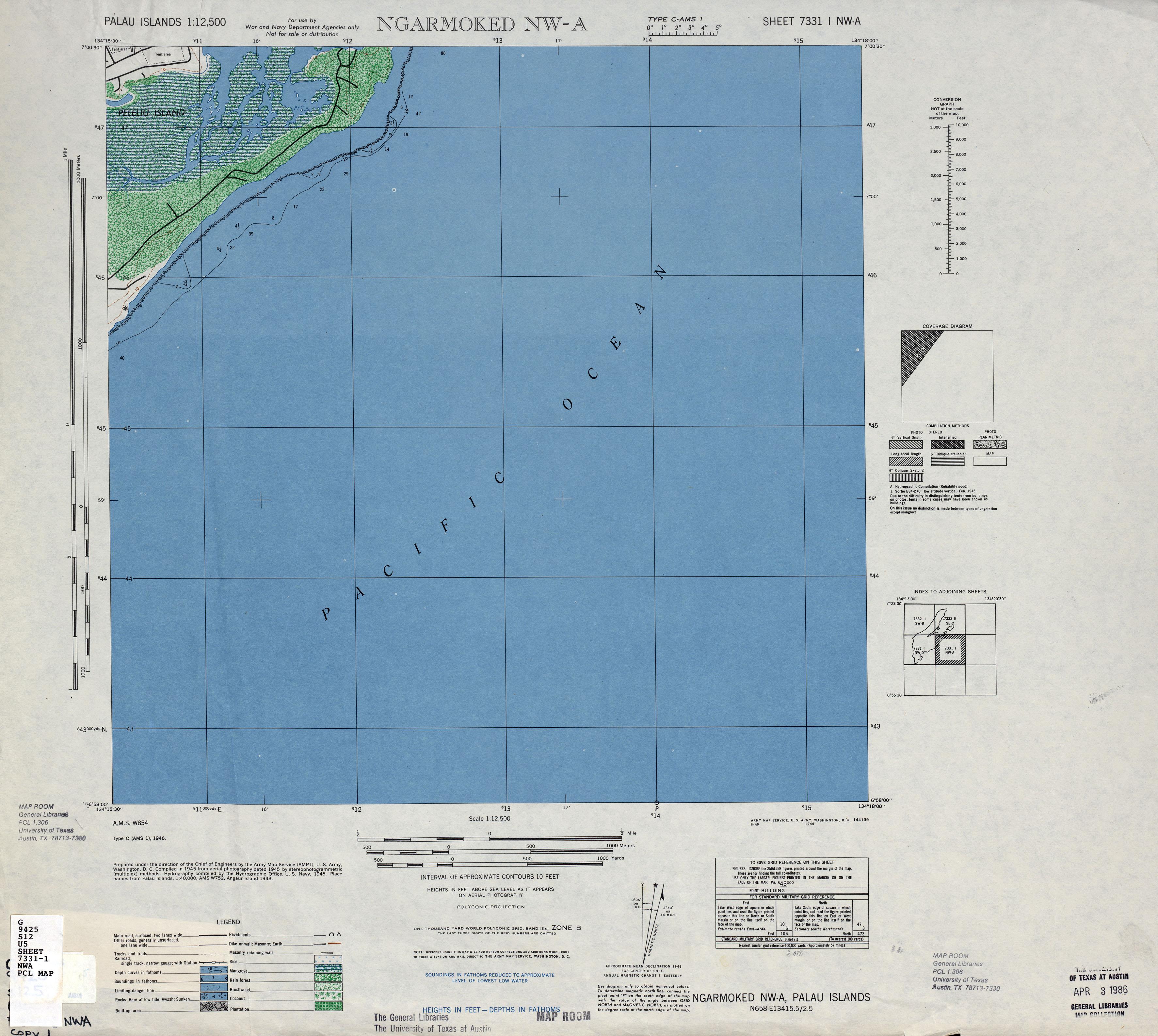 Palau Islands AMS Topographic Maps - Perry-Castañeda Map ...