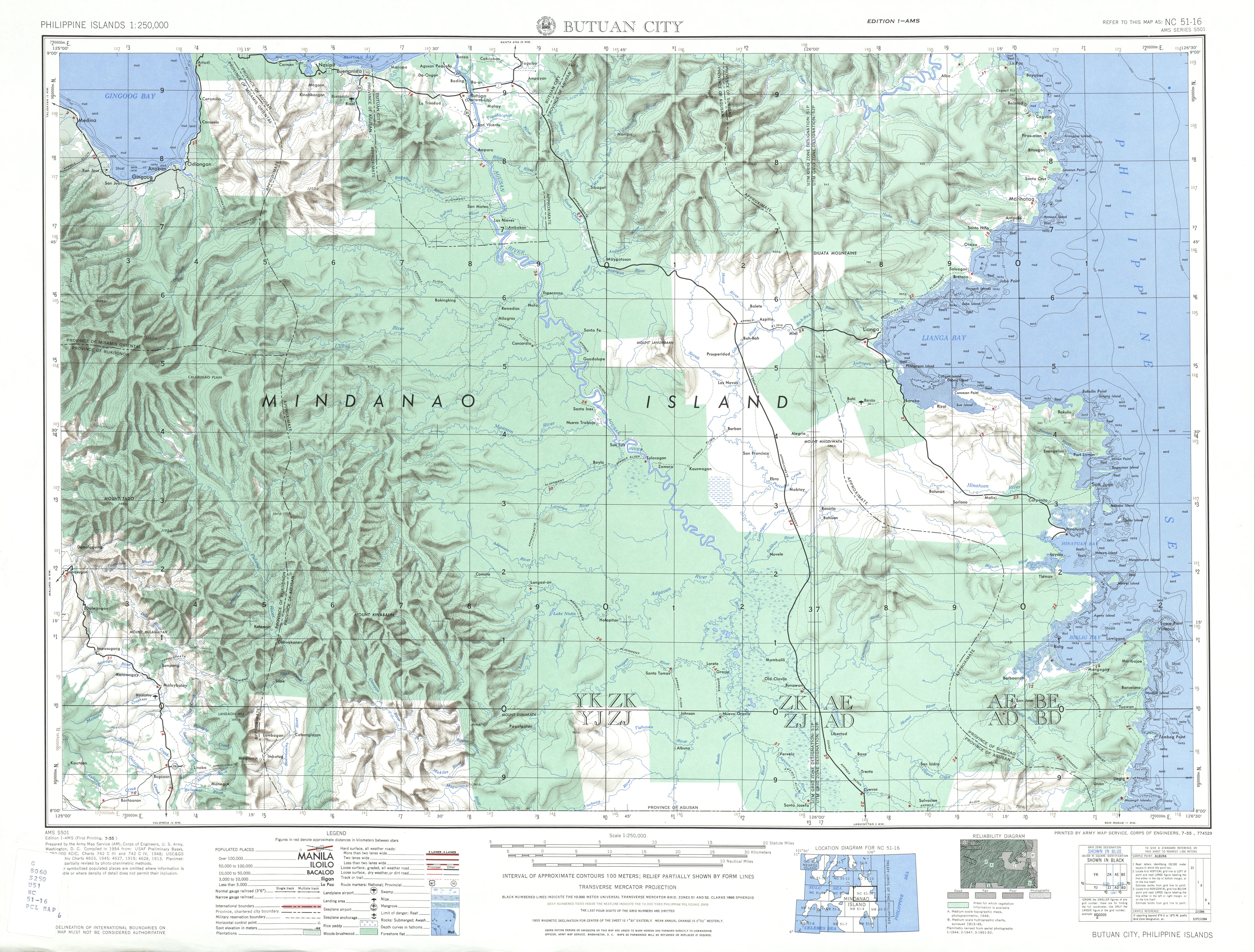 Philippines ams topographic maps perry castaeda map collection nc 51 16 butuan city gumiabroncs Image collections