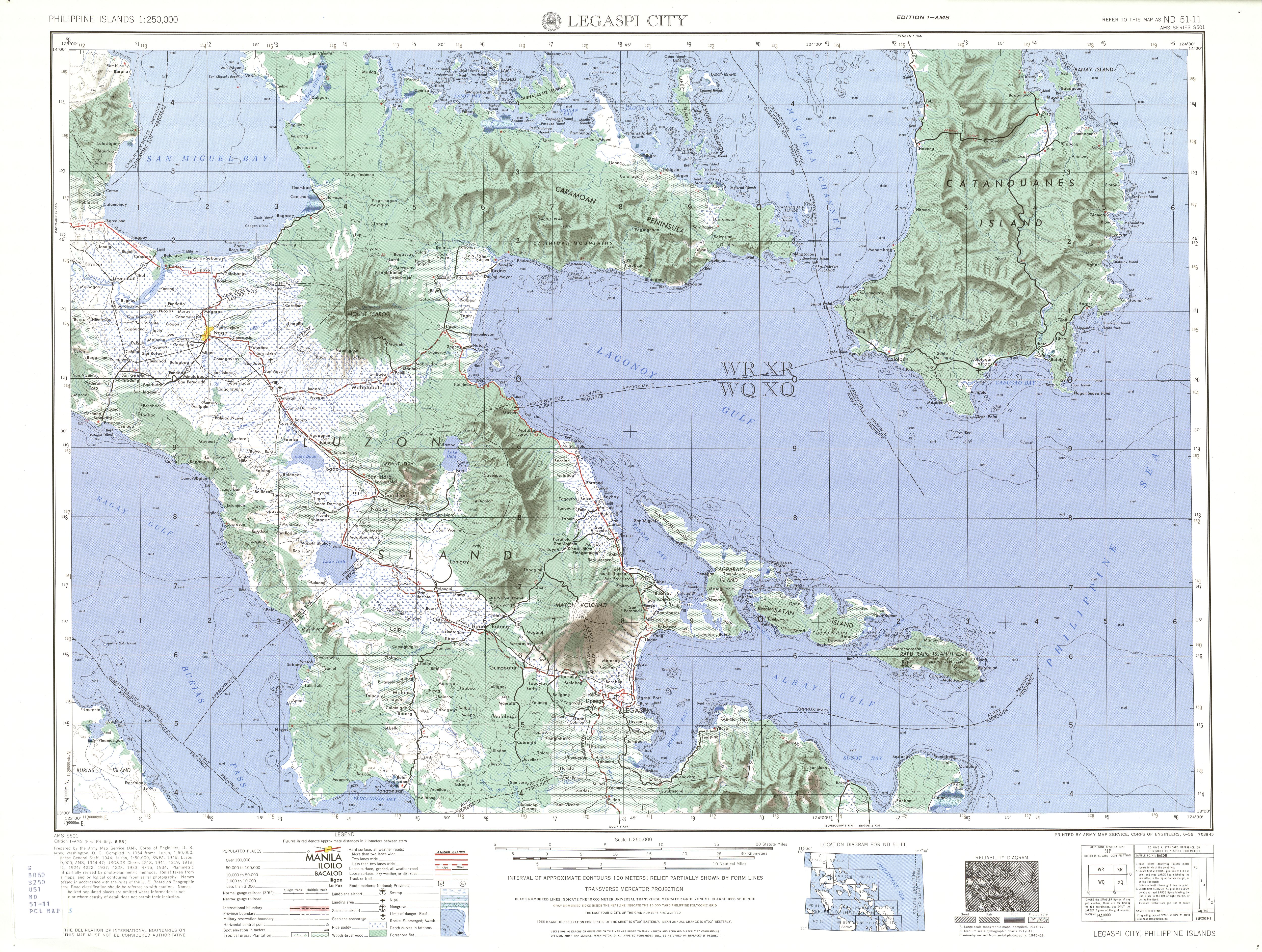 Philippines AMS Topographic Maps PerryCastañeda Map Collection - Legazpi city map
