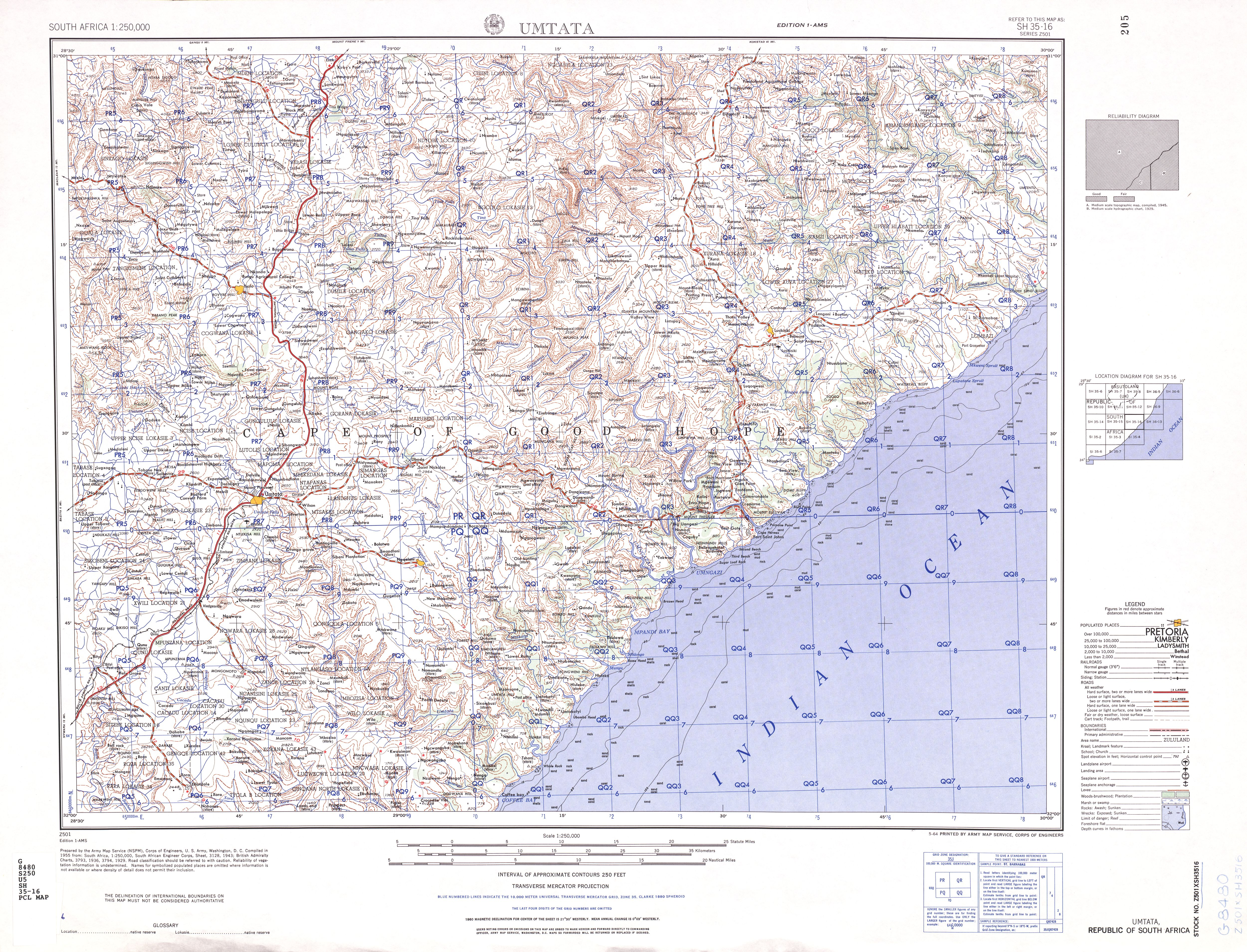 South Africa AMS Topographic Maps - Perry-Castañeda Map ... on topographic map west africa, topographical map of africa, elevation topographic map africa,