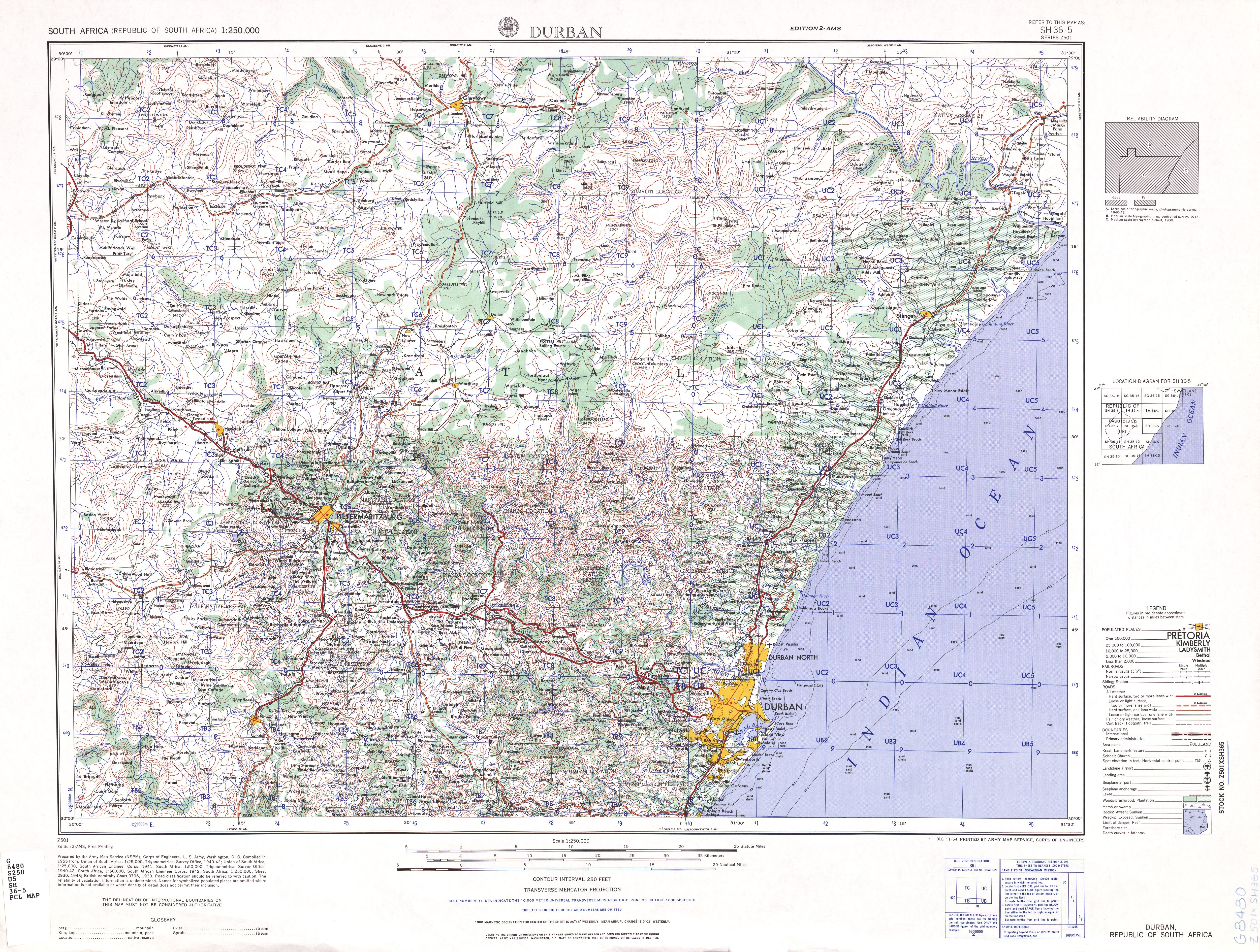 topographic map of south africa South Africa Ams Topographic Maps Perry Castaneda Map Collection