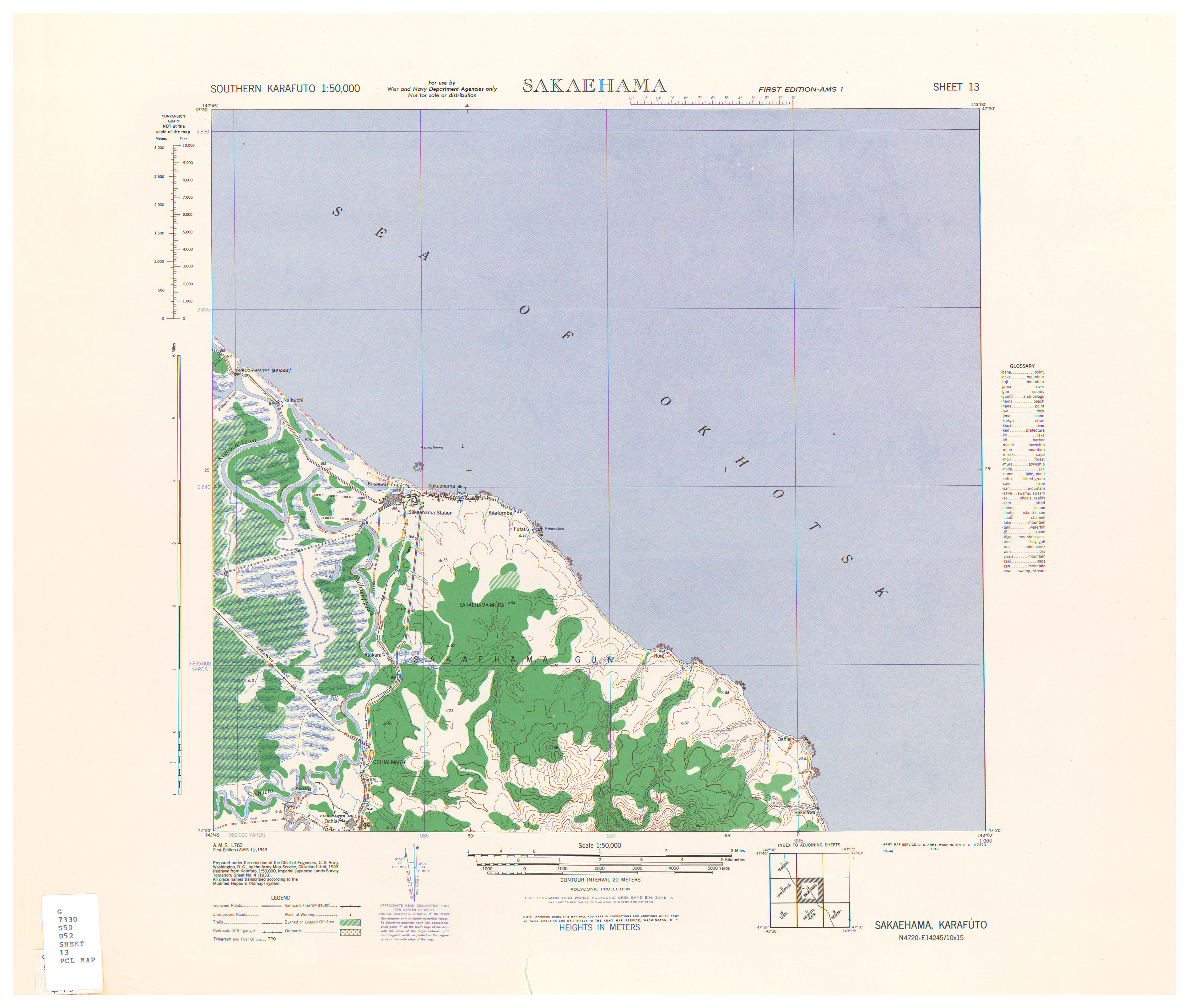 Southern Karafuto AMS Topographic Maps - Perry-Castañeda Map ...