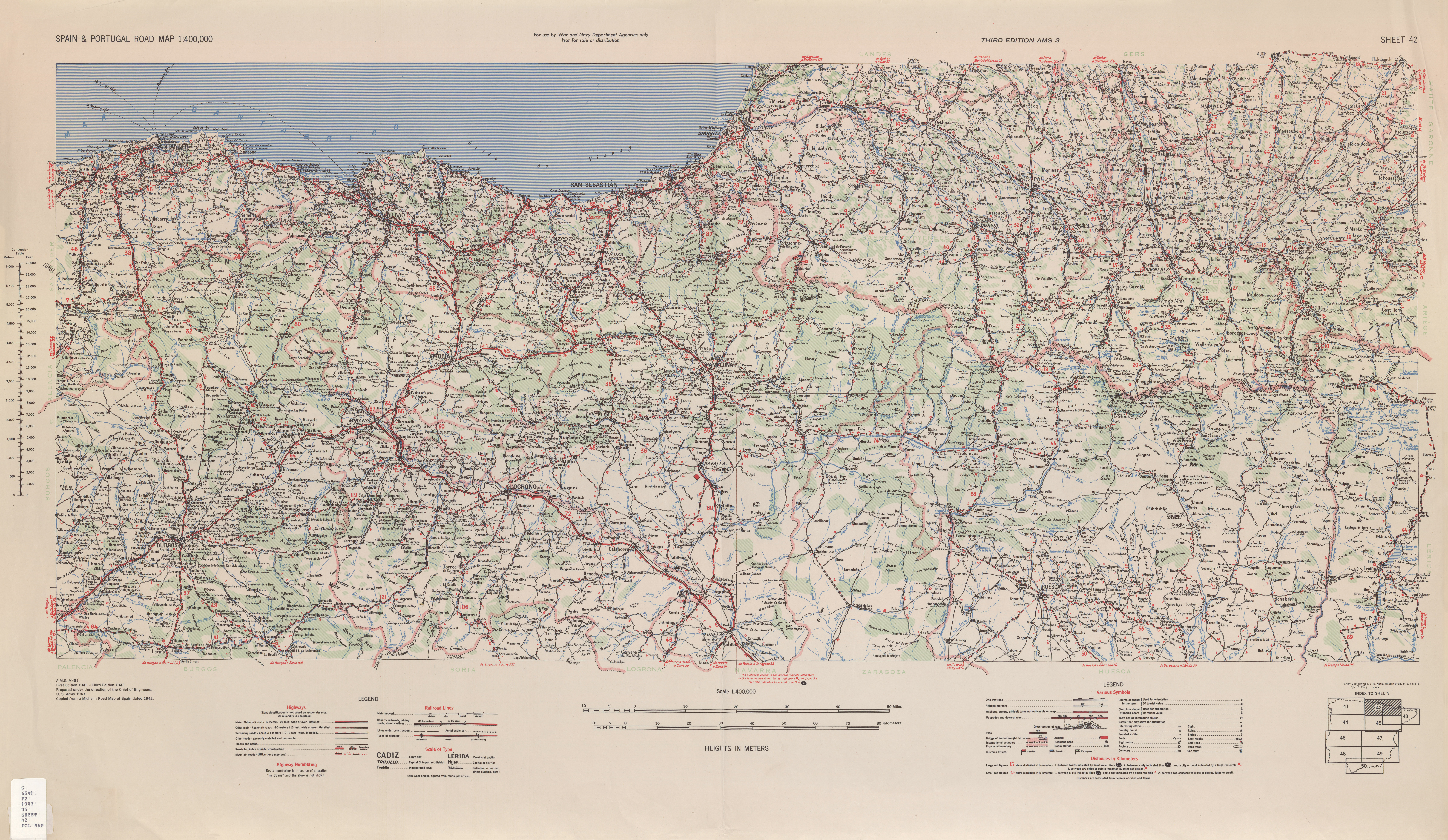 Map Of Spain 711.Spain Portugal Road Map Ams Topographic Maps Perry Castaa Eda