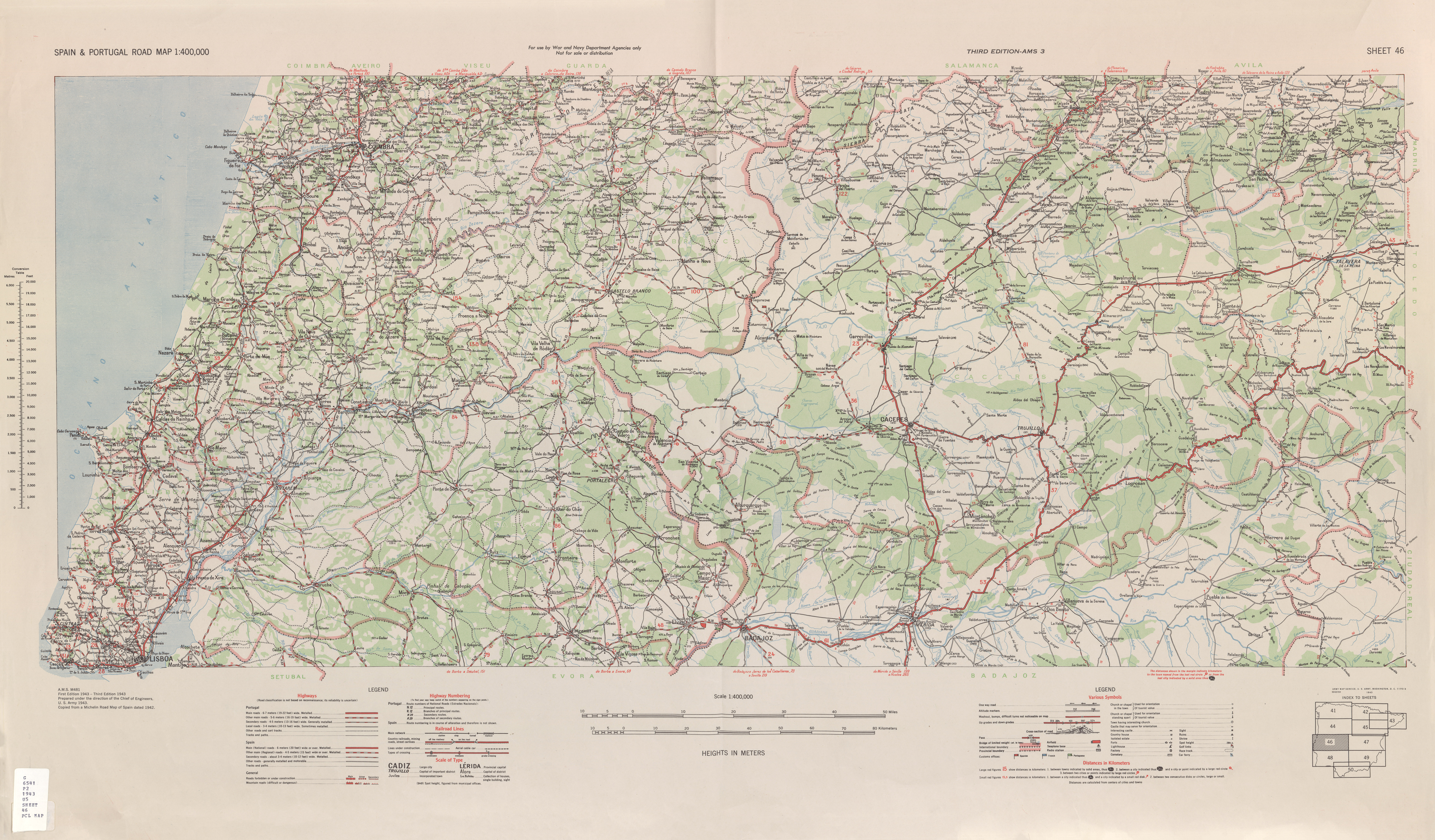 Road Map Of Portugal And Spain.Spain Portugal Road Map Ams Topographic Maps Perry Castaa Eda