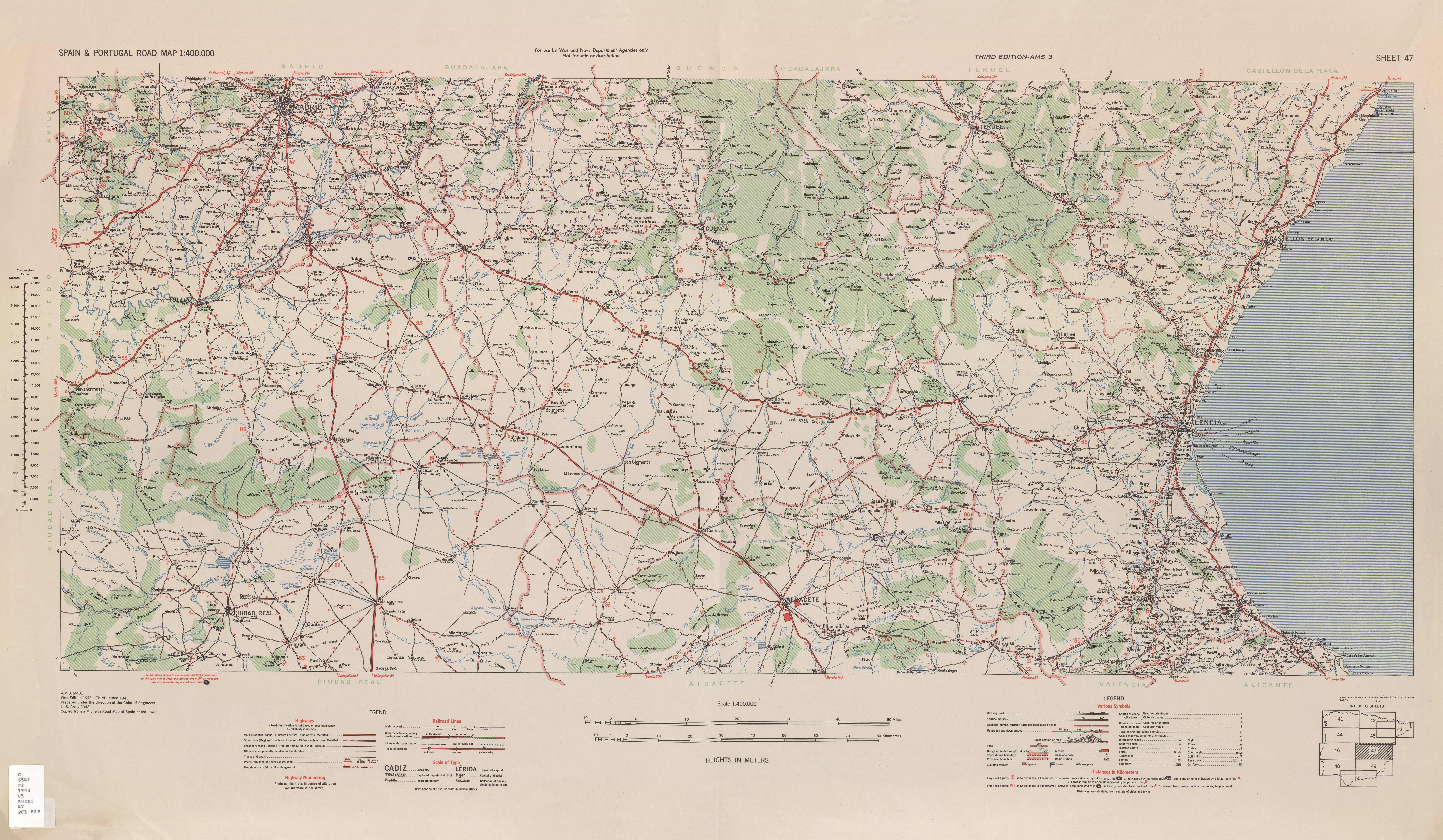 Spain & Portugal Road Map AMS Topographic Maps - Perry-Castañeda ...
