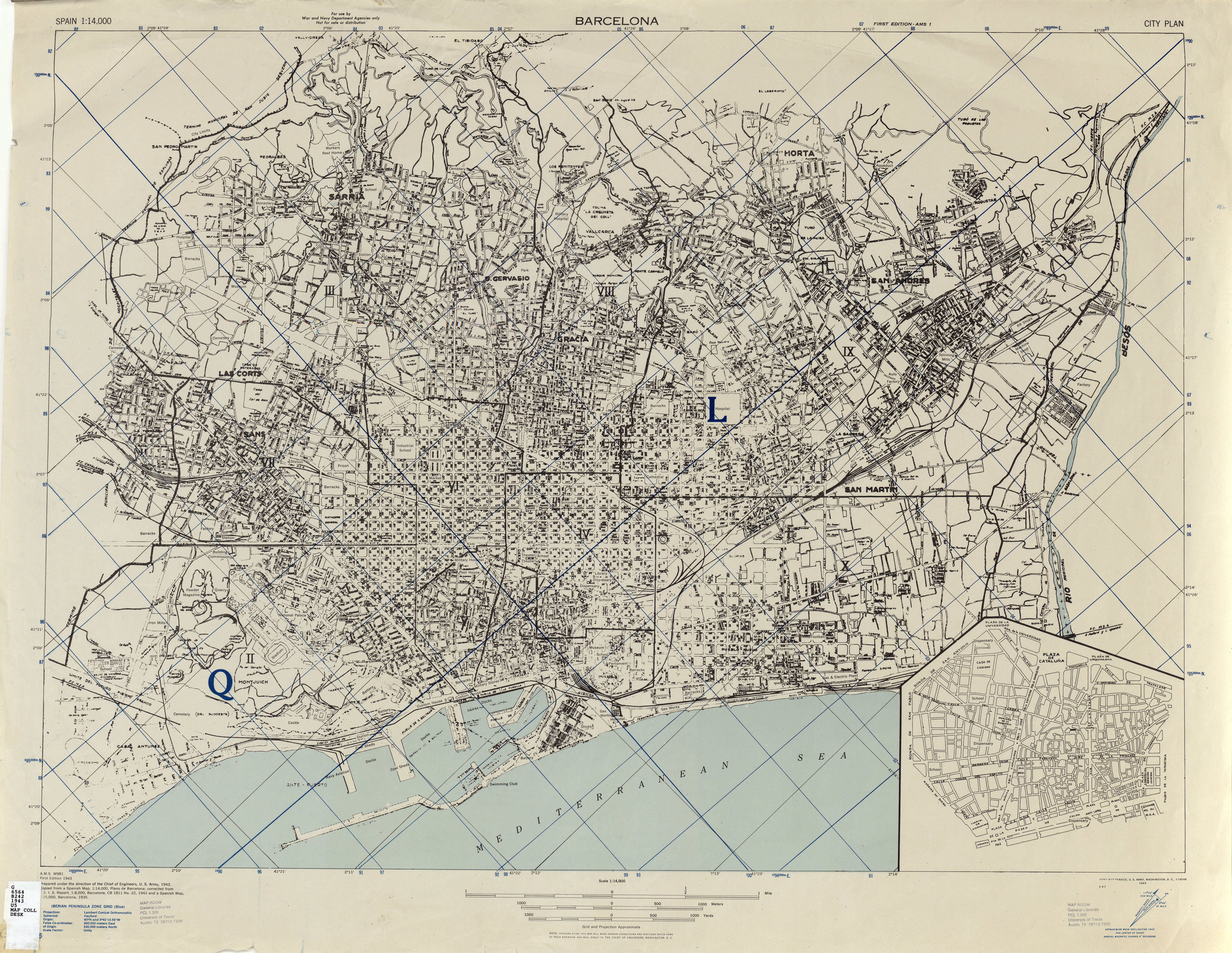 Spain City Plans AMS Topographic Maps PerryCastaeda Map