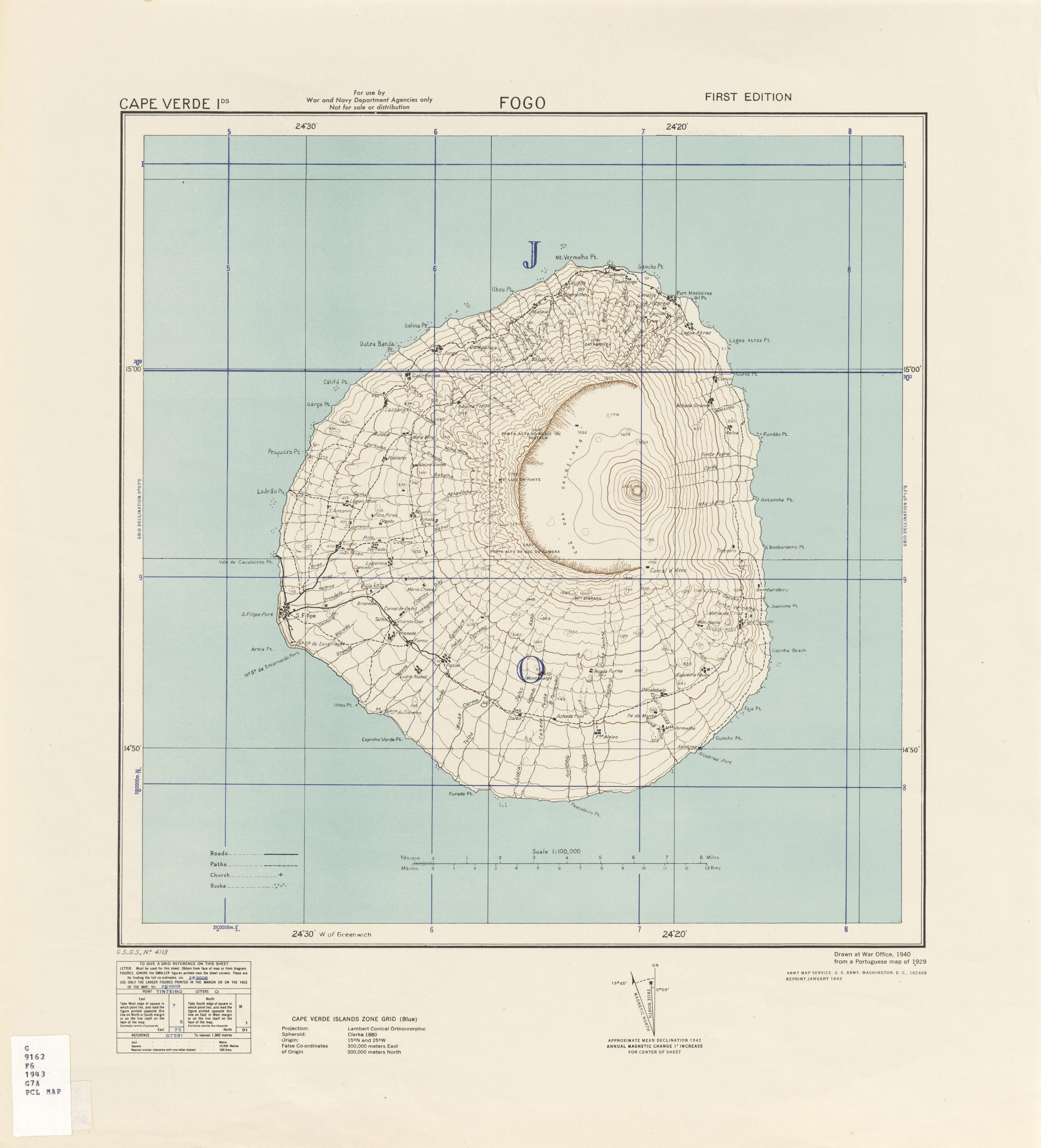 Cape Verde Fogo Series 4113 1 100 000