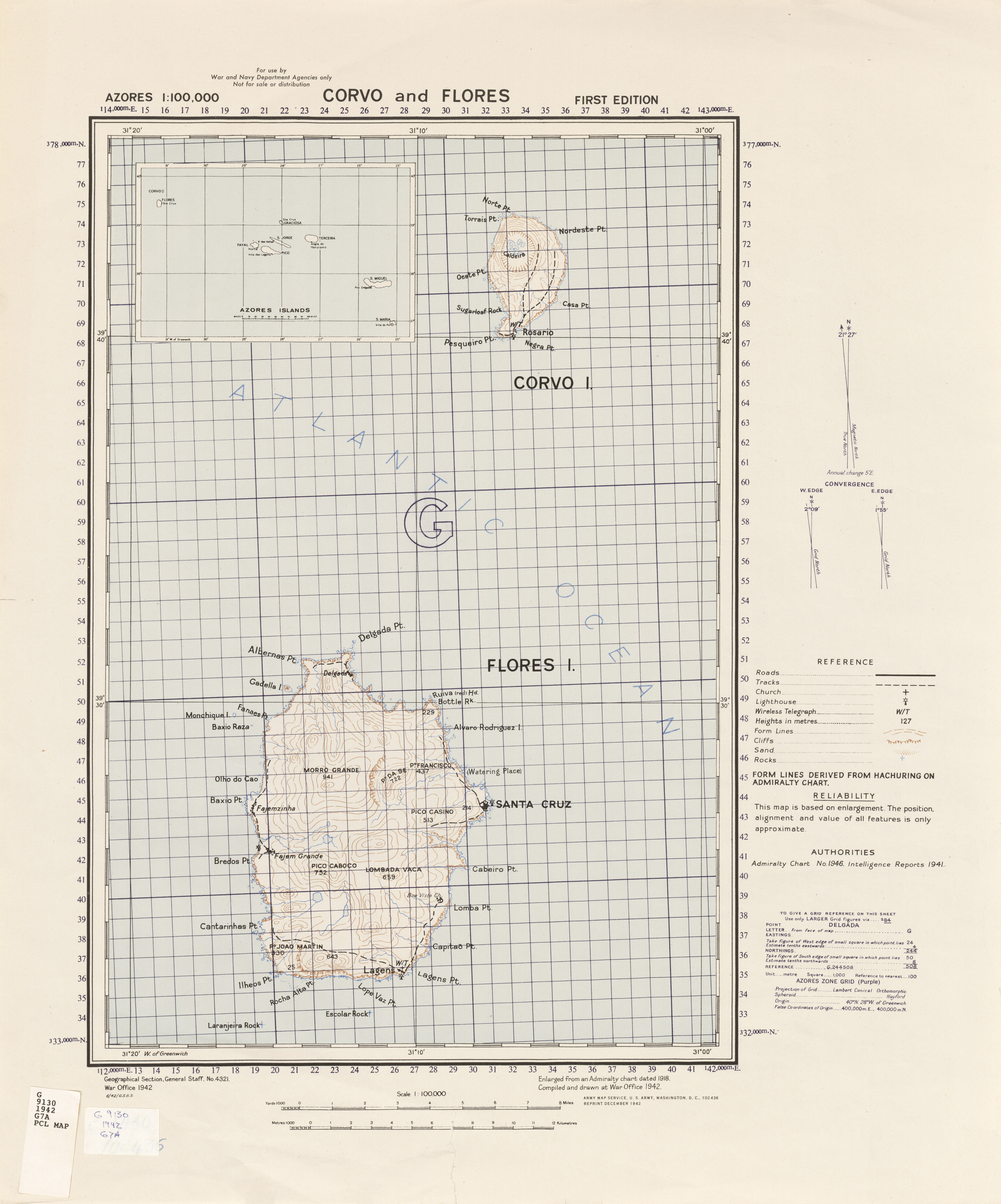 Azores Corvo And Flores Series 4321 1 100 000 U S Army Map Service