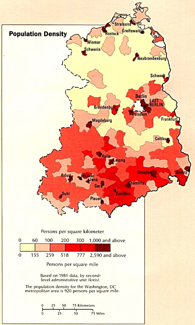 germany eastern population density