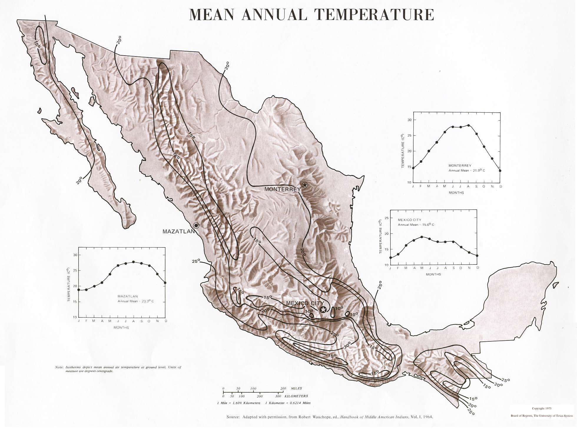 Mexico Maps PerryCastañeda Map Collection UT Library Online - Mexico temperature map