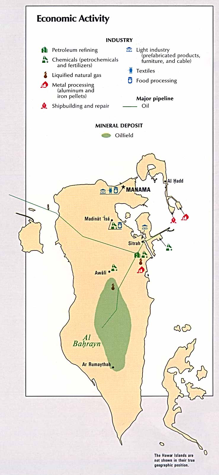Bahrain maps perry castaeda map collection ut library online bahrain economic activity from the cia atlas gumiabroncs Image collections