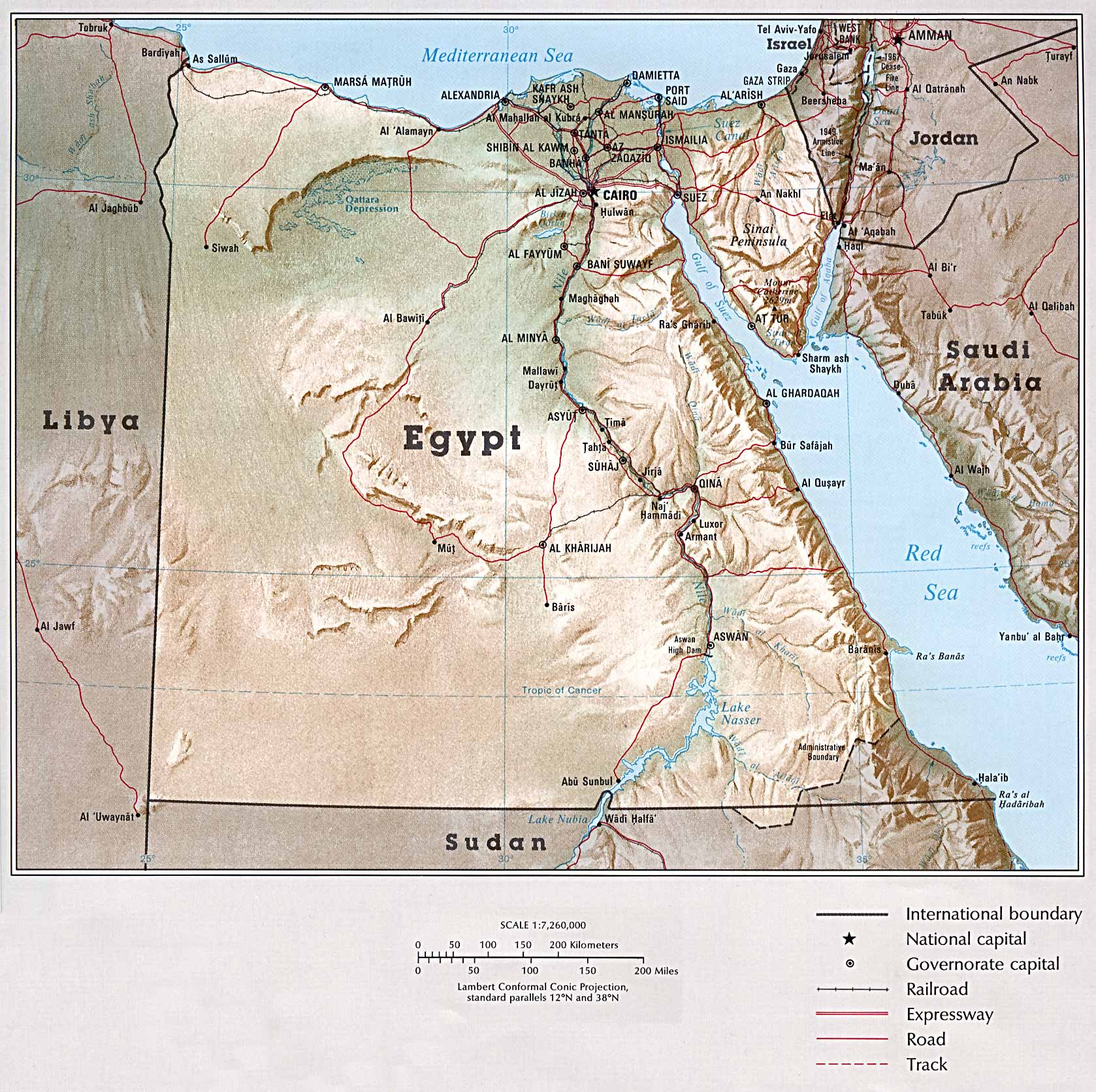 Egypt. Country Map (518k)