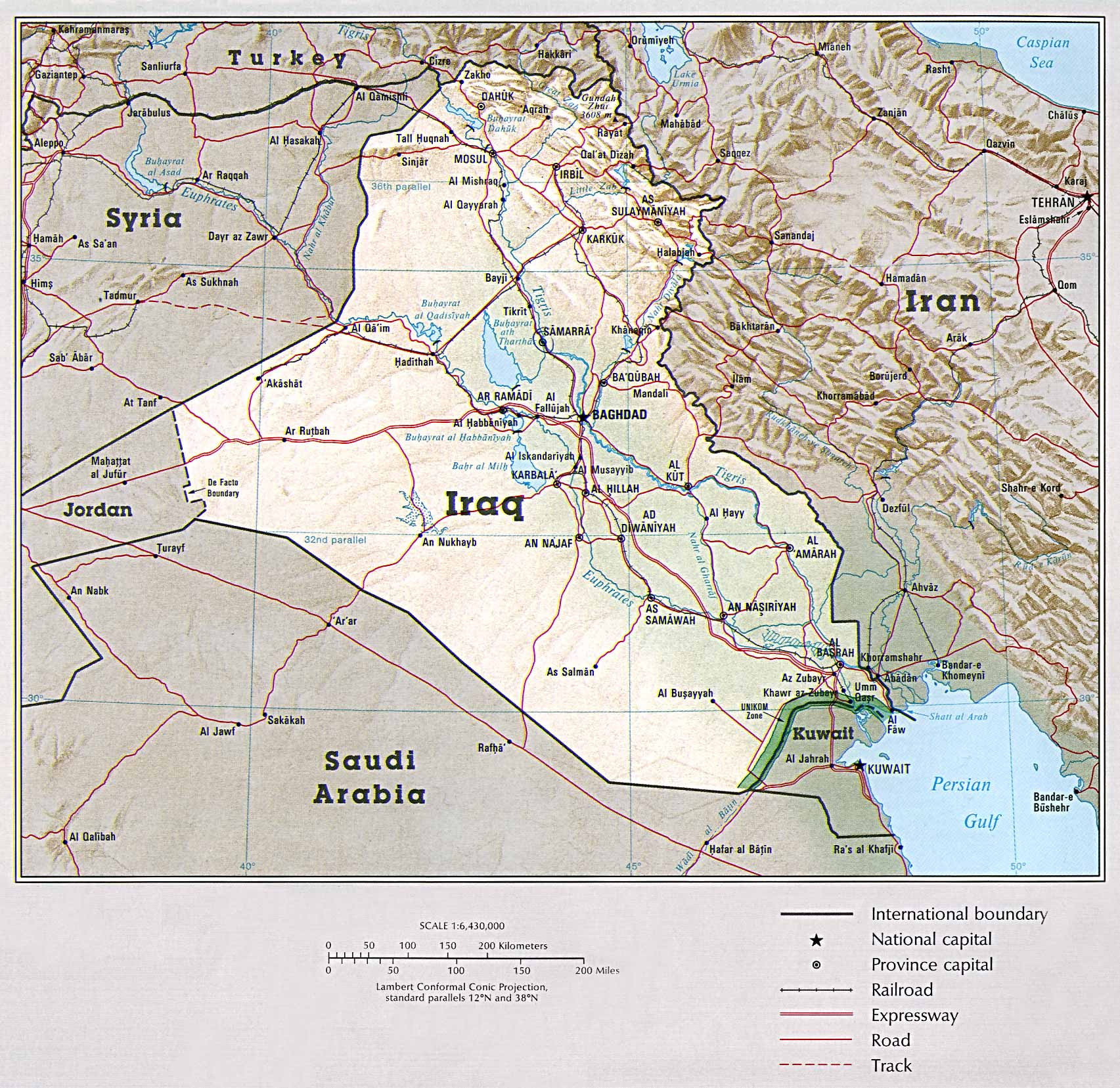 Map Of Iraq Iraq [Shaded Relief Map] From the CIA Atlas of the Middle East, 1993 (580k)