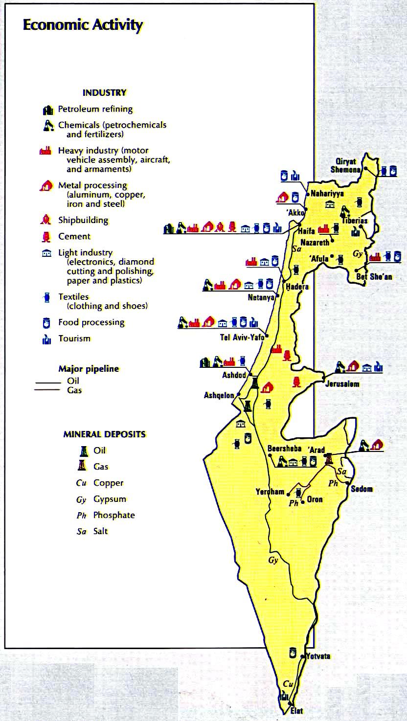 a92842413 Экономика, промышленность и полезные ископаемые на территории Израиля -  подробная электронная карта Израиля