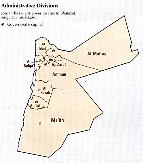 1Up Travel Maps of Jordan Administrative Divisions 41k