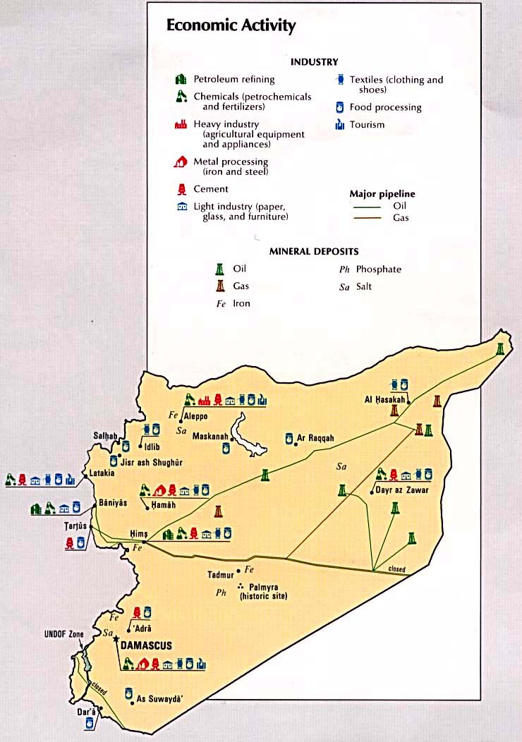 Siria Mapa económico 1993.
