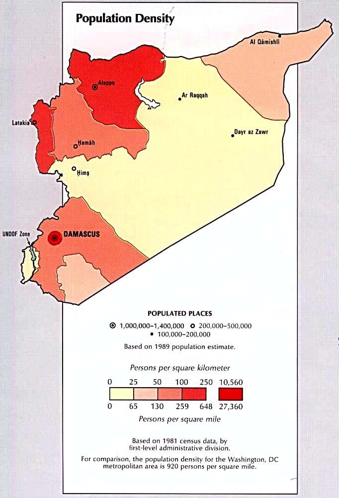 Siria población Density Mapa 1993.